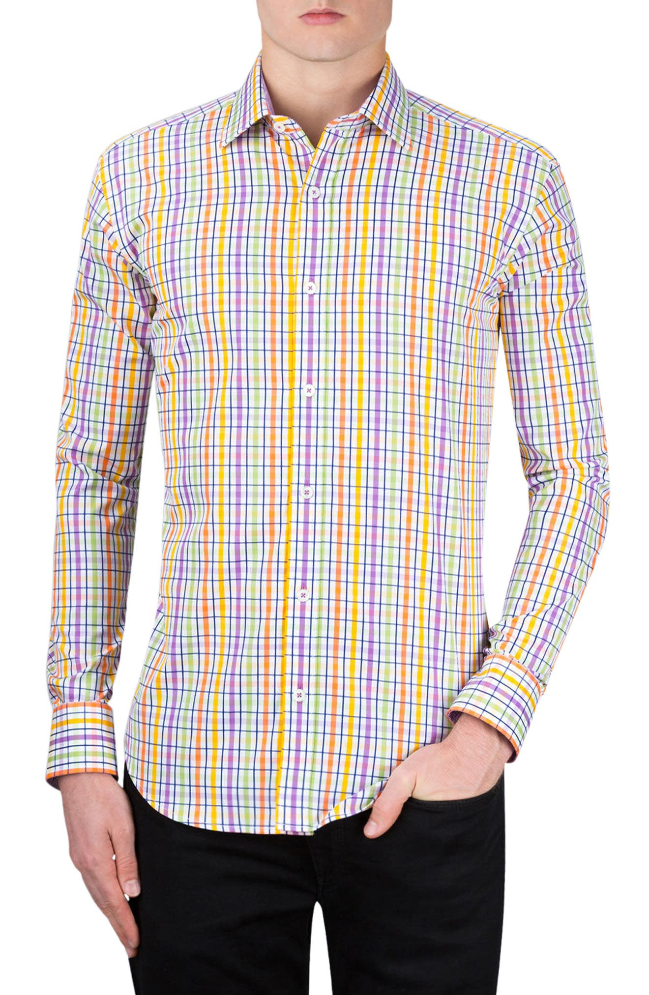 Shaped Fit Check Sport Shirt,                         Main,                         color, Paradise