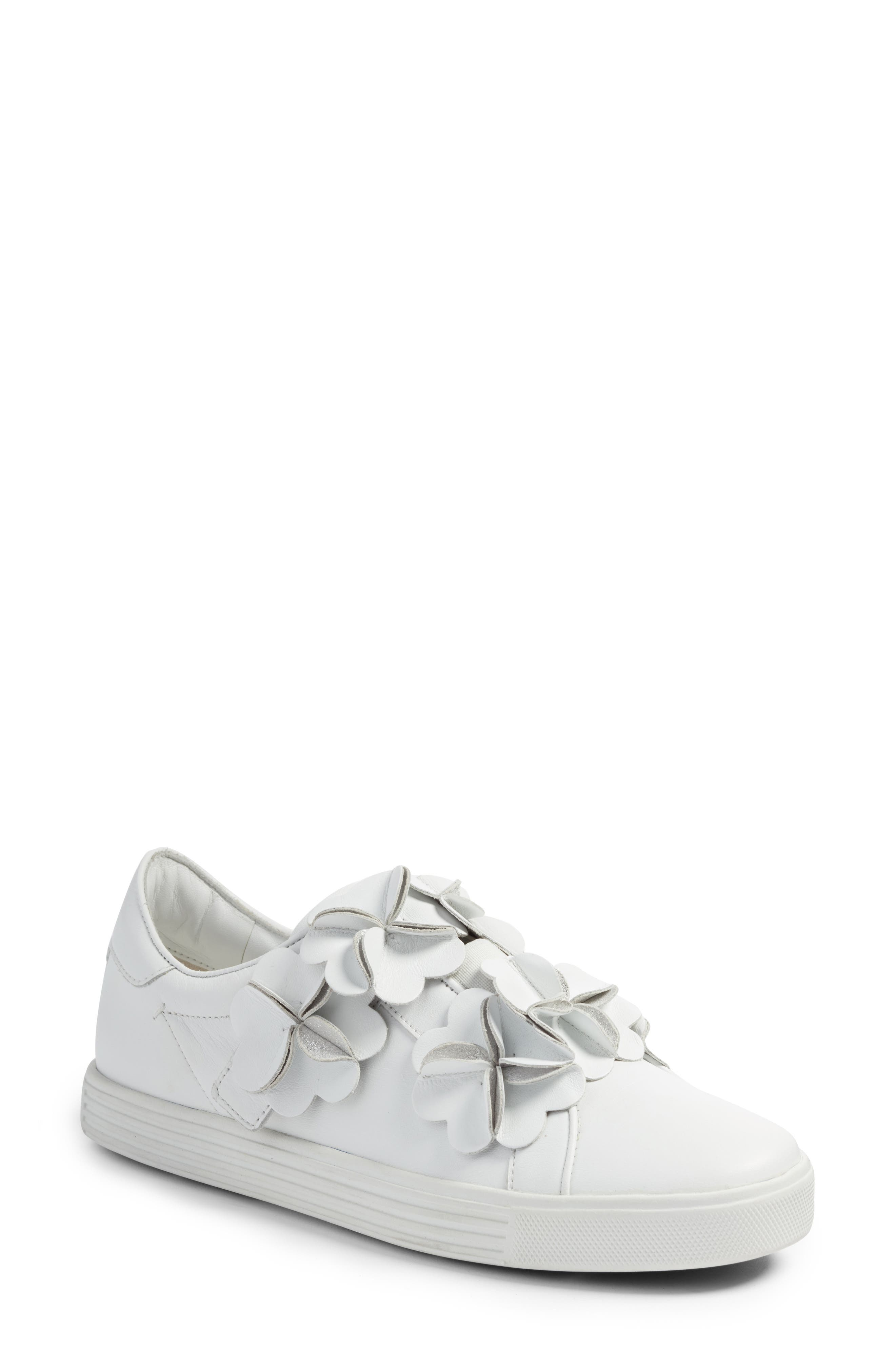 Kennel & Schmenger Town Floral Embellished Sneaker,                             Main thumbnail 1, color,                             White/ Silver