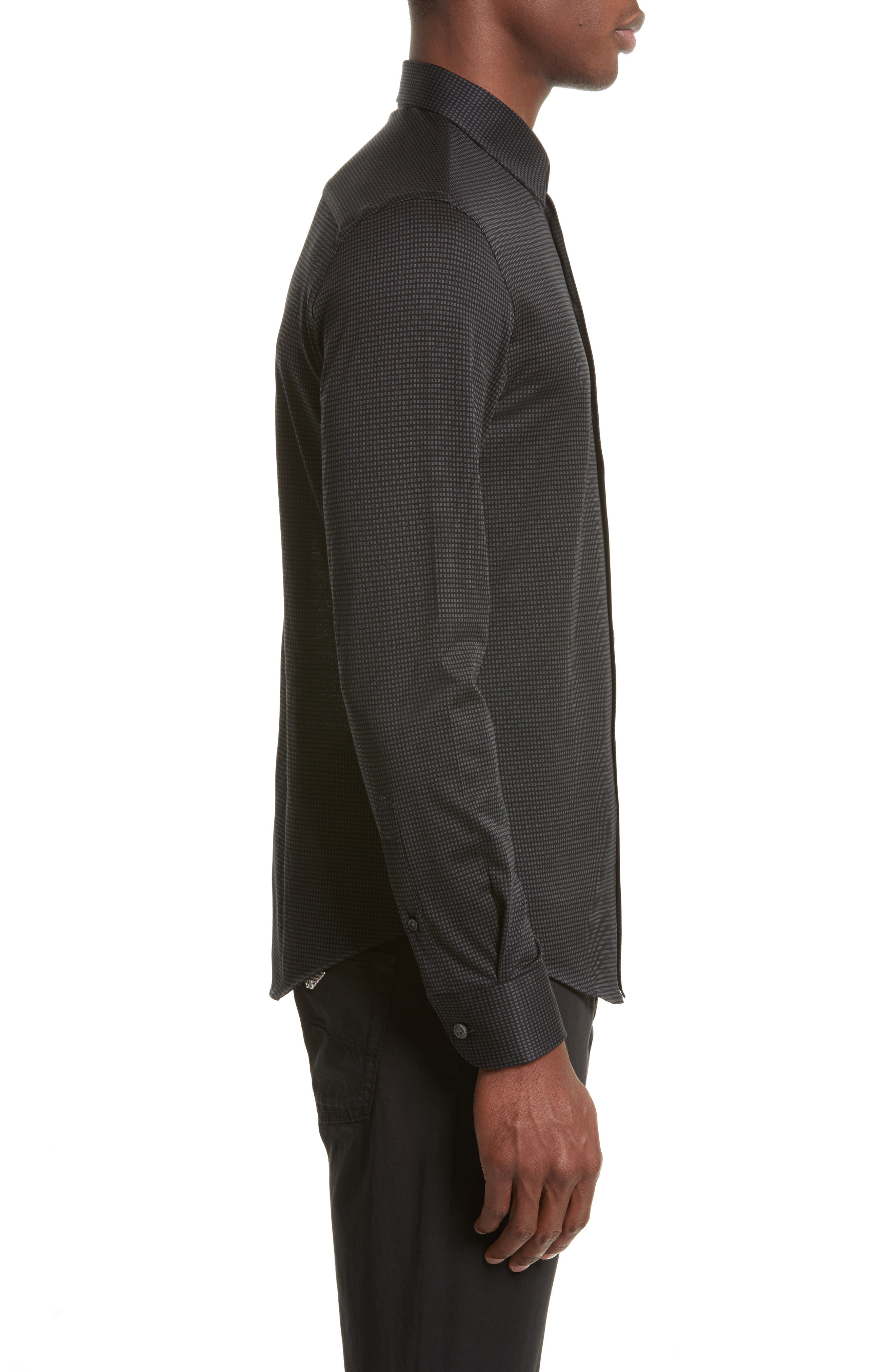Neat Check Woven Sport Shirt,                             Alternate thumbnail 3, color,                             Checked Black