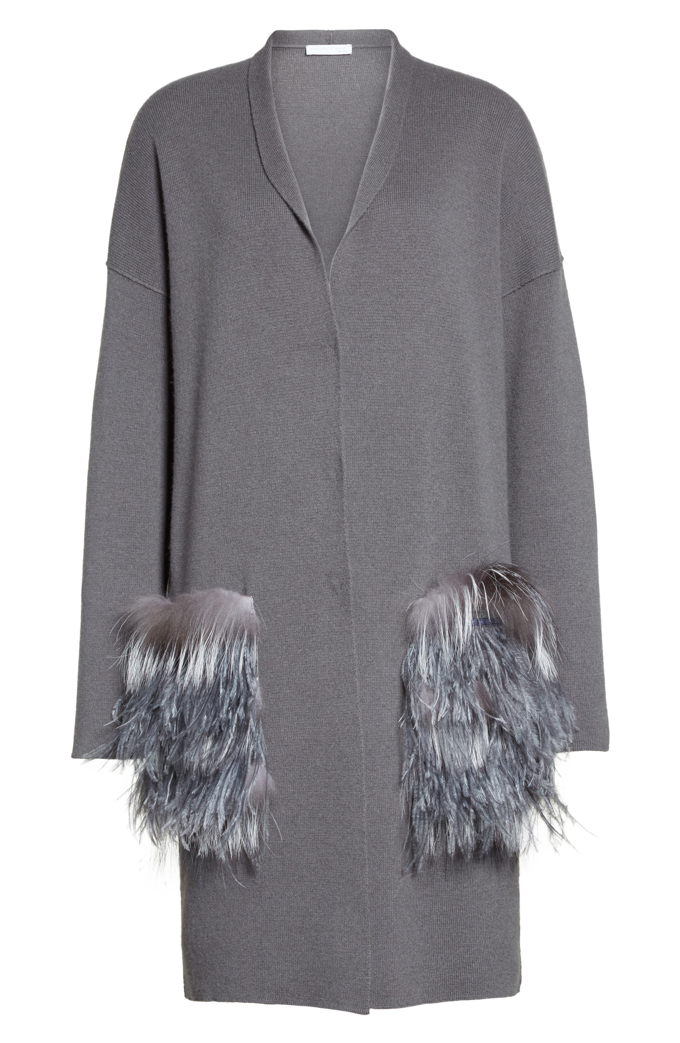 Alternate Image 4  - Fabiana Filippi Wool, Silk & Cashmere Cardigan with Genuine Fox Fur & Ostrich Feather Trim