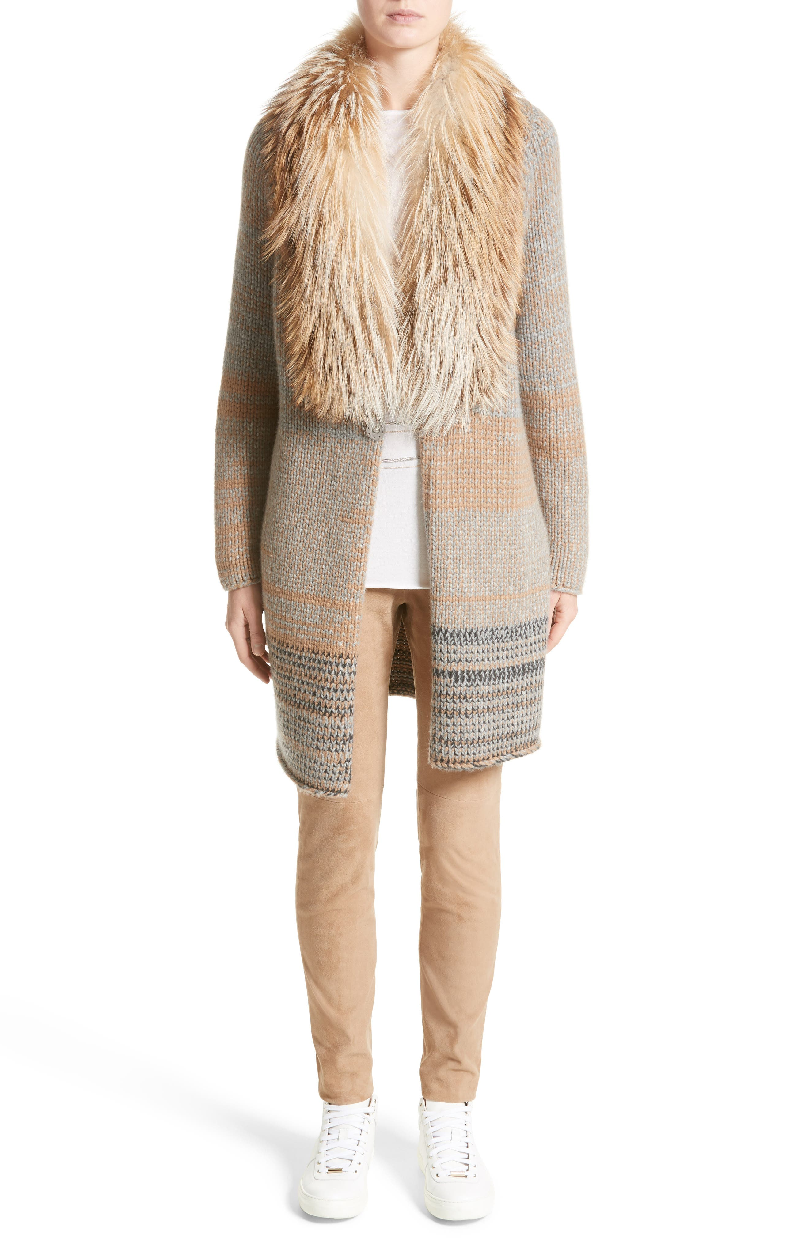 Cashmere Cardigan with Removable Genuine Fox Fur Collar,                             Alternate thumbnail 7, color,                             Camel / Grey Multi