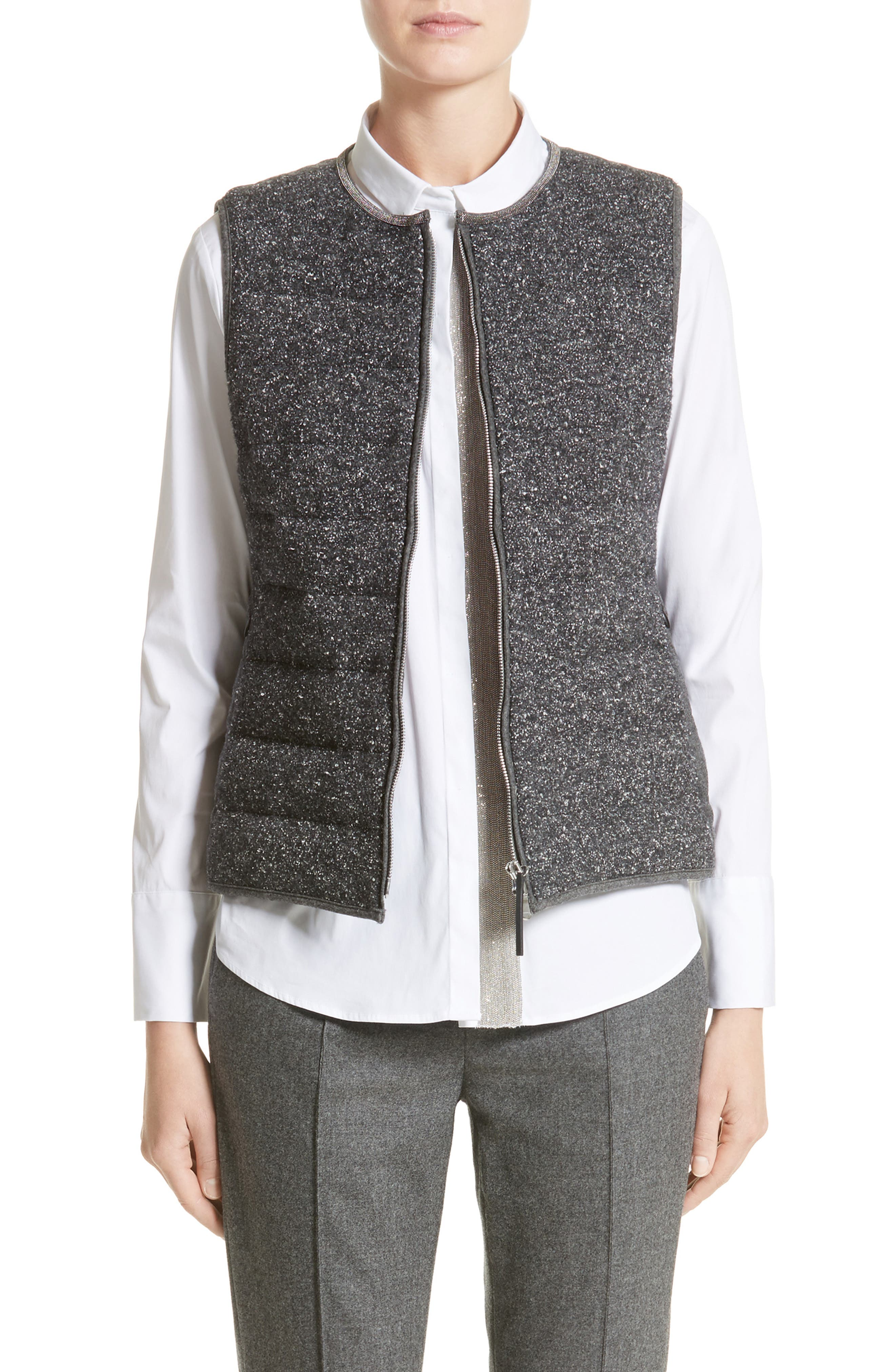 Pebbled Knit Front Quilted Down Vest,                         Main,                         color, Pebbled Grey
