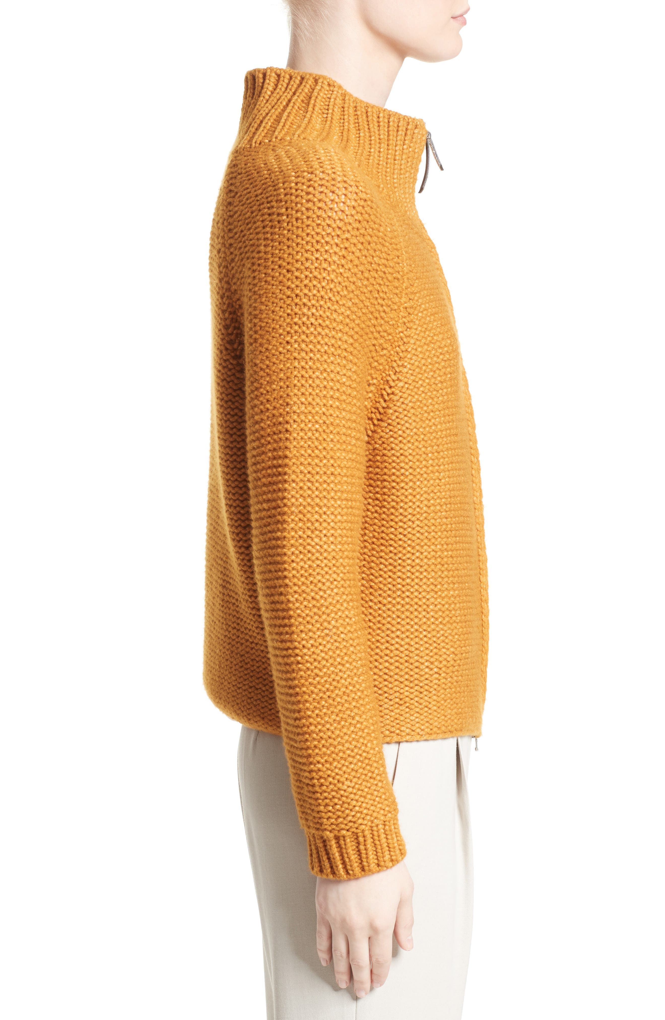 Knit Wool Blend Cardigan,                             Alternate thumbnail 5, color,                             Amber