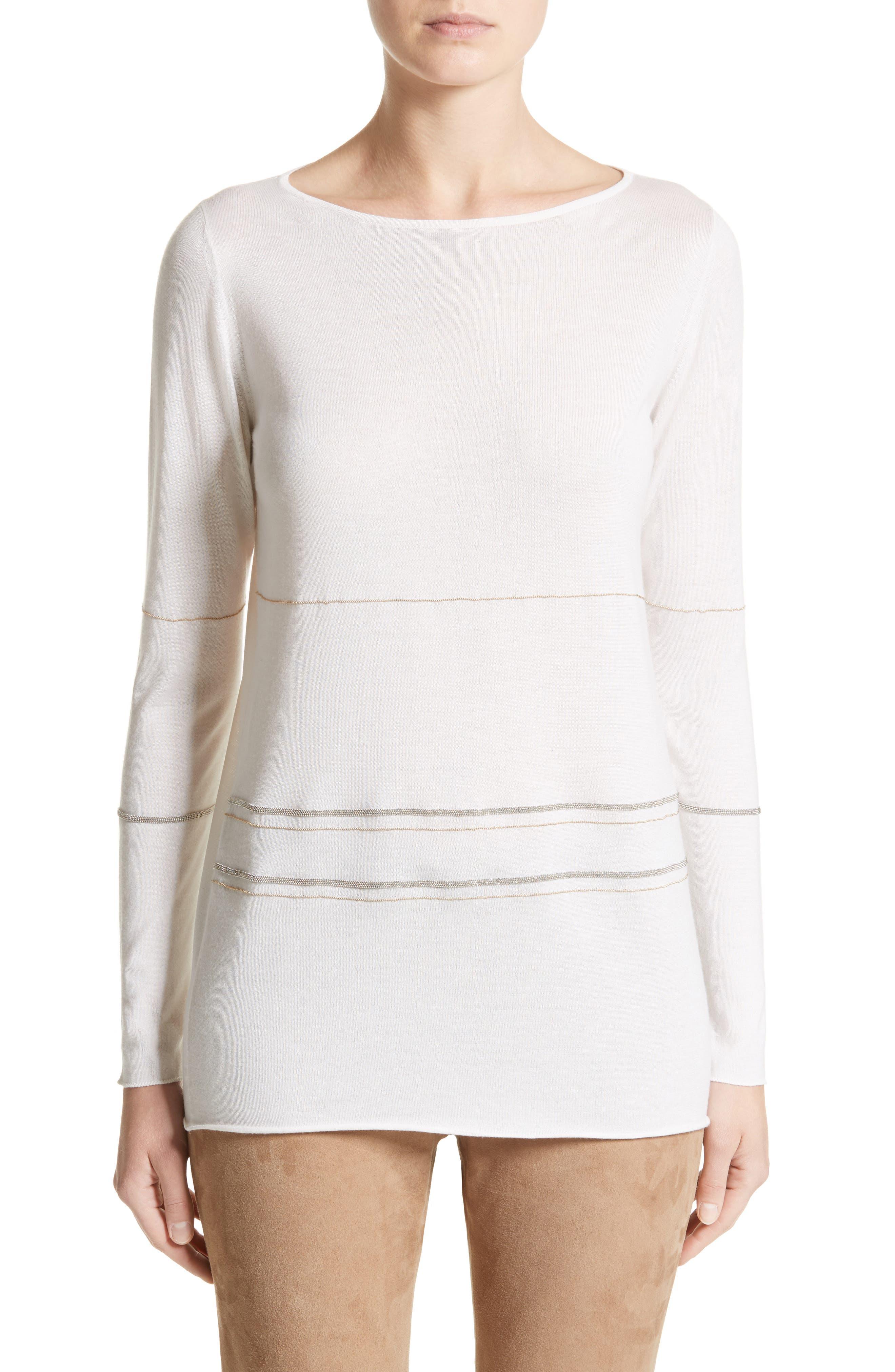 Metallic Trim Cashmere & Silk Sweater,                         Main,                         color, Ivory