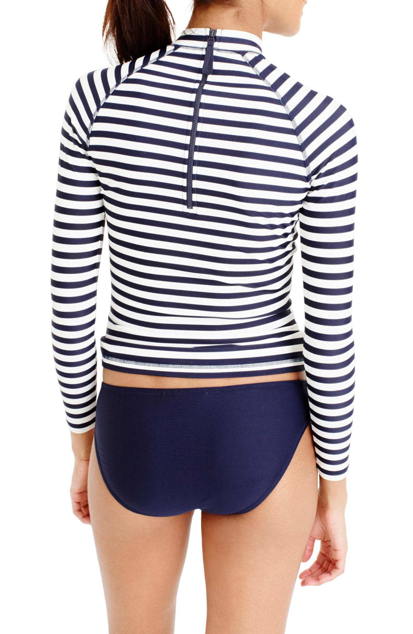 J.Crew Stripe Rashguard,                             Alternate thumbnail 2, color,                             Navy Ivory