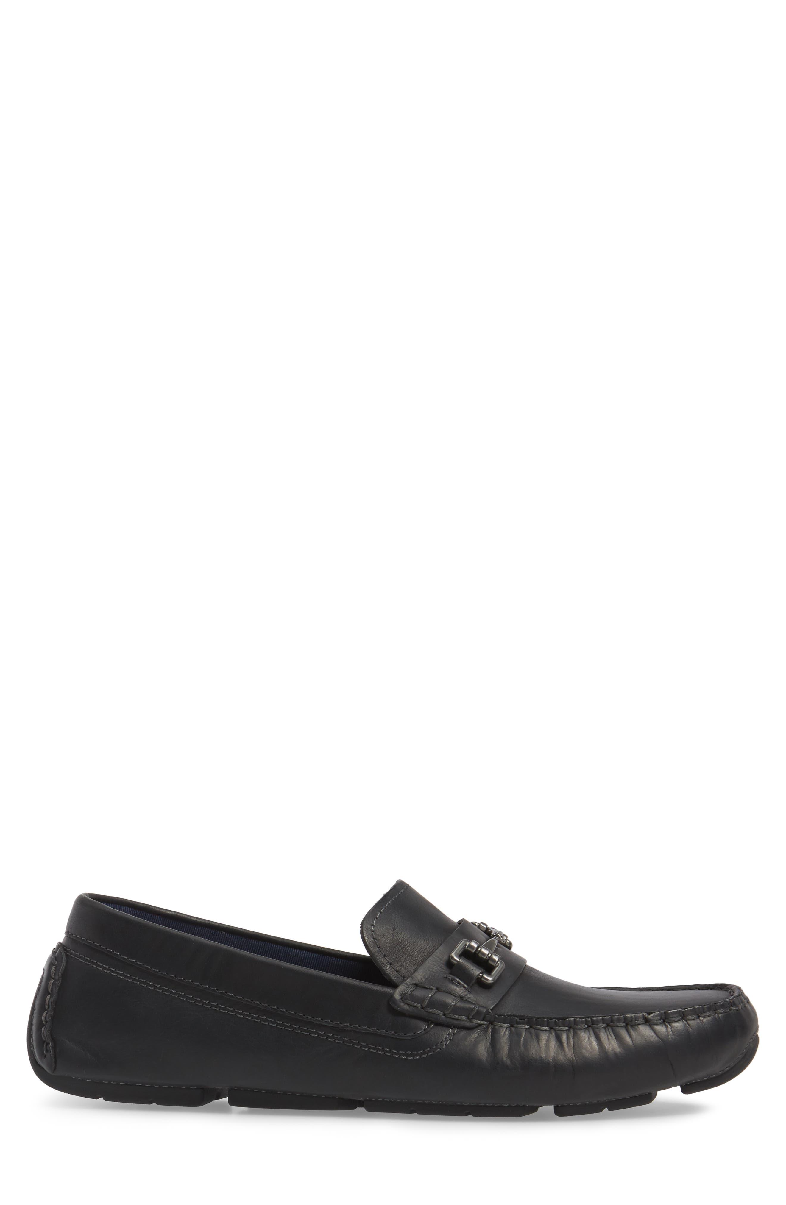 Kelson Bit Driving Shoe,                             Alternate thumbnail 3, color,                             Black Leather