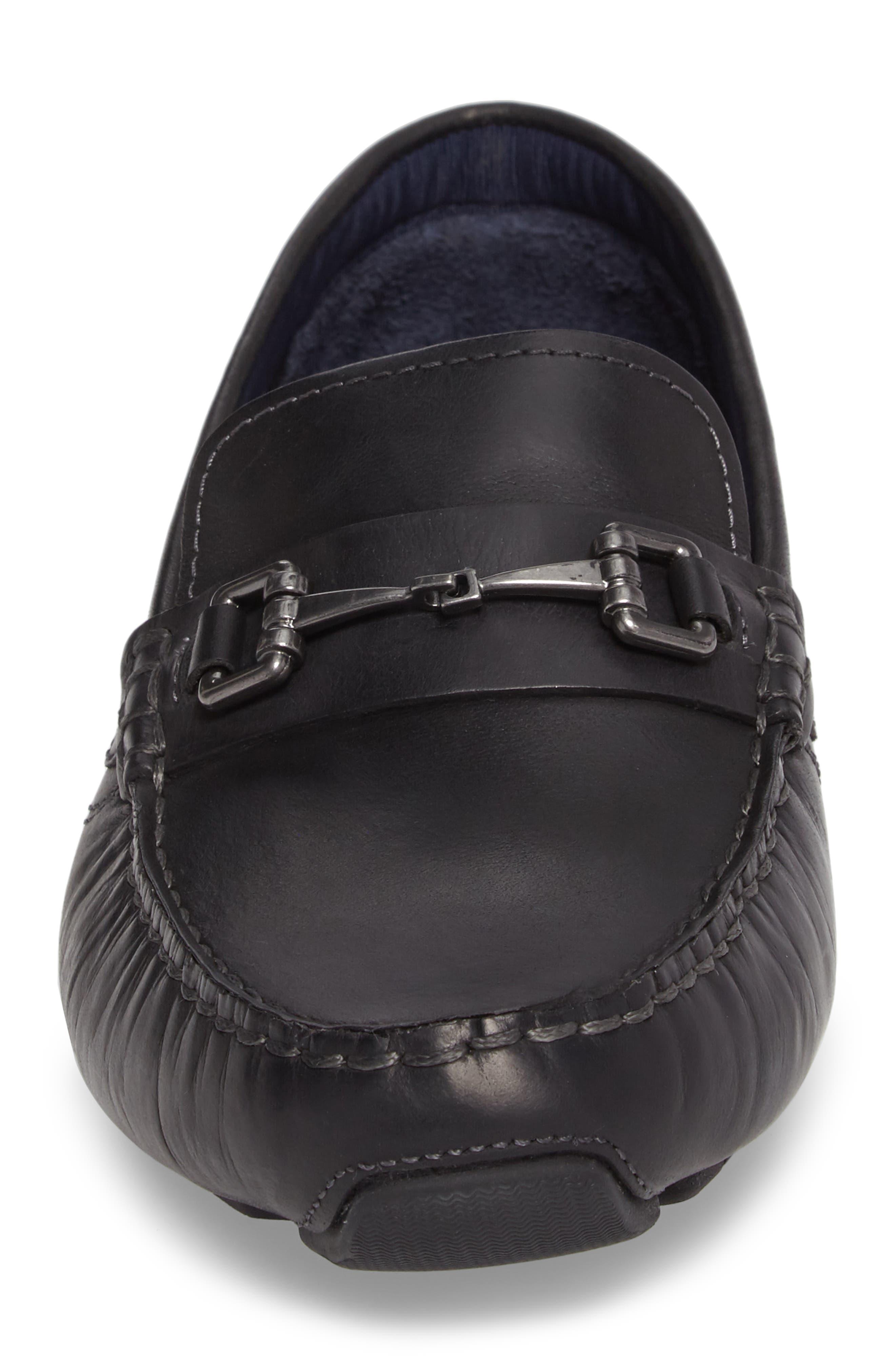 Kelson Bit Driving Shoe,                             Alternate thumbnail 4, color,                             Black Leather