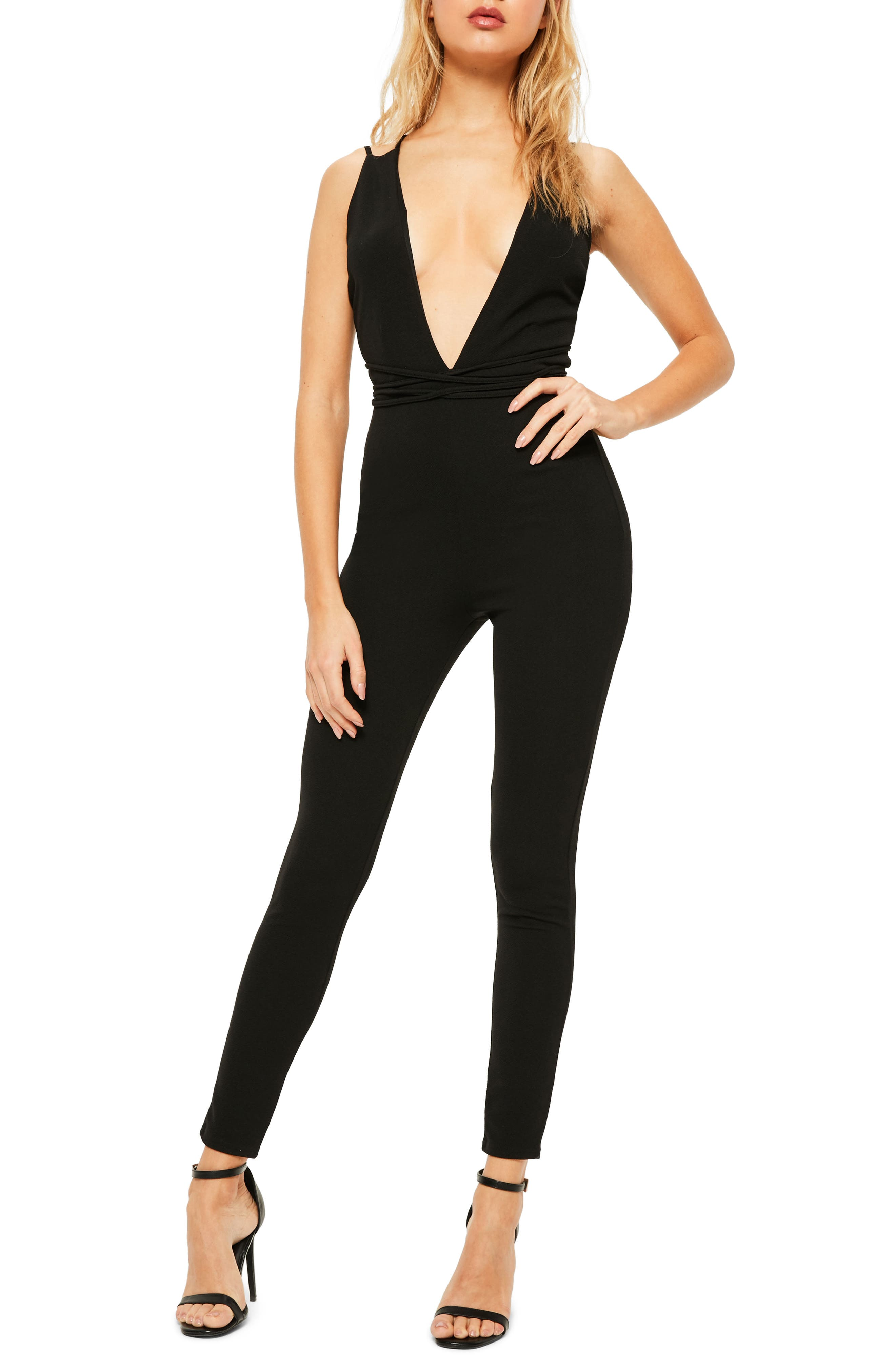 MISSGUIDED Plunging Crepe Jumpsuit