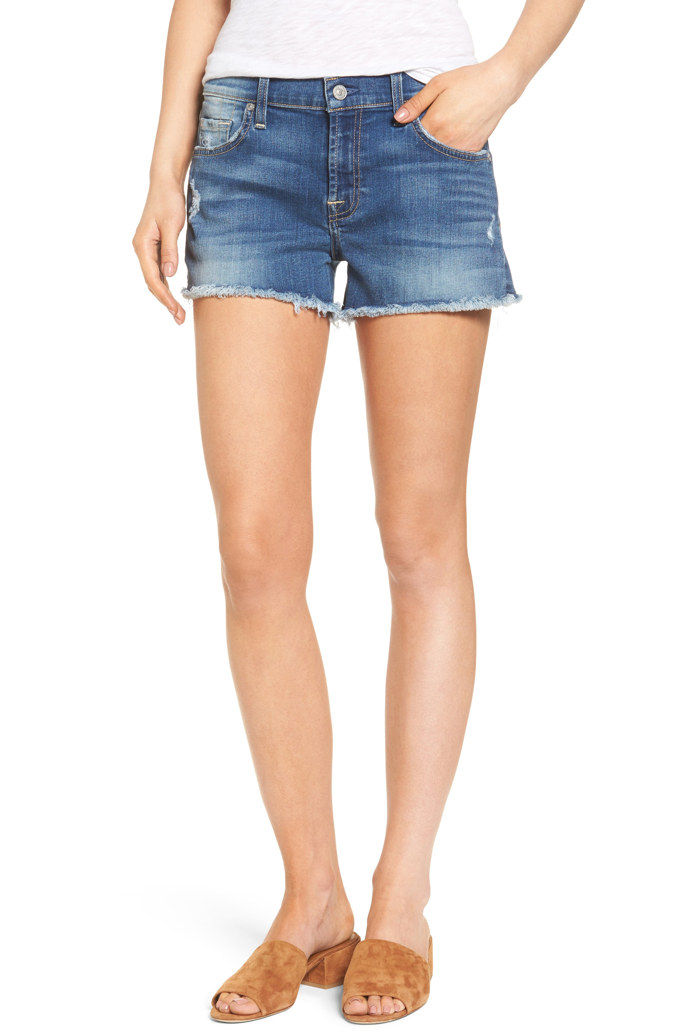 Main Image - 7 For All Mankind® High Waist Cutoff Denim Shorts (Ocean Mist) (Nordstrom Exclusive Color)