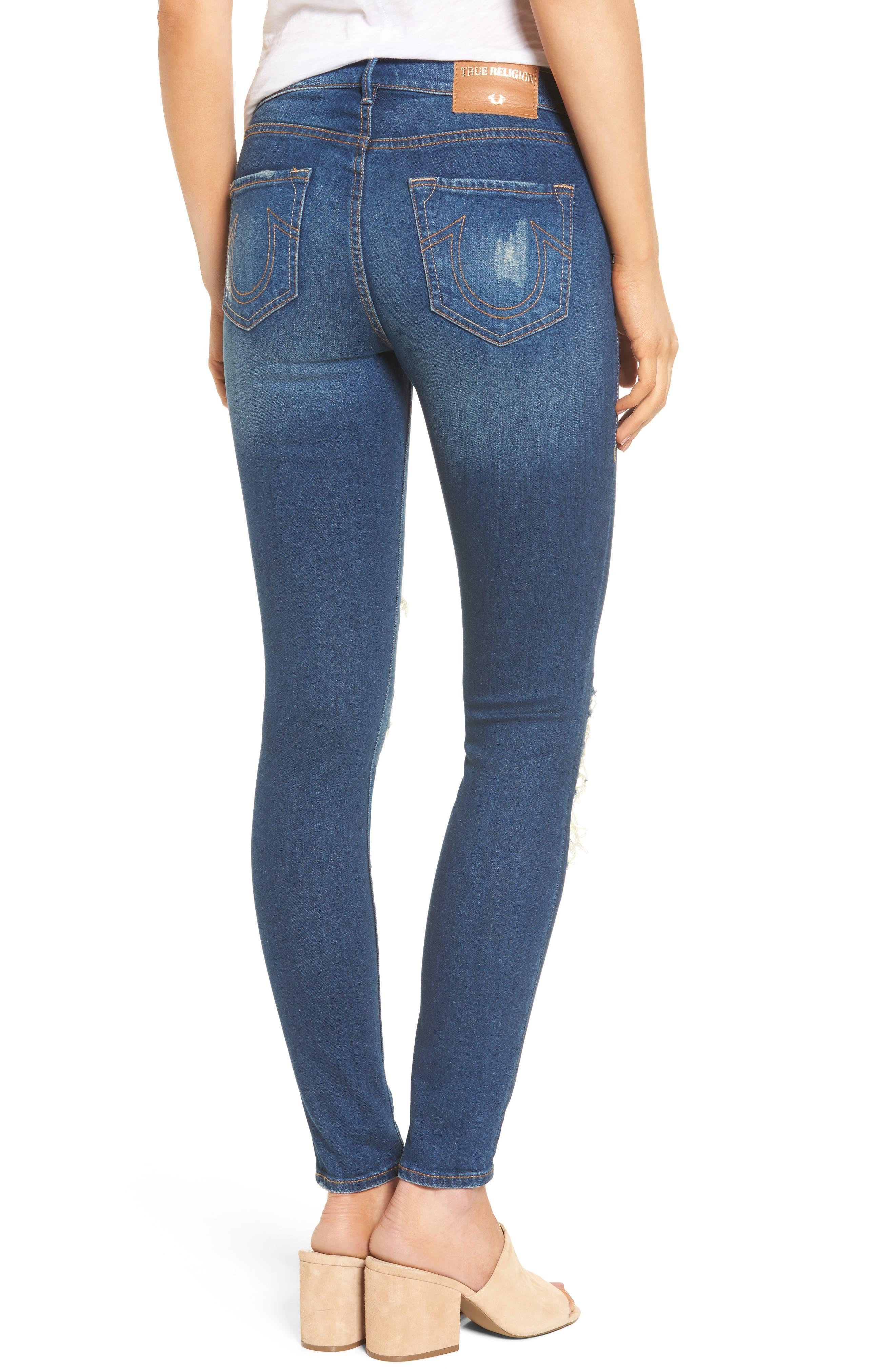 Alternate Image 2  - True Religion Brand Jeans Halle Super Skinny Jeans (Indigo Cadence)