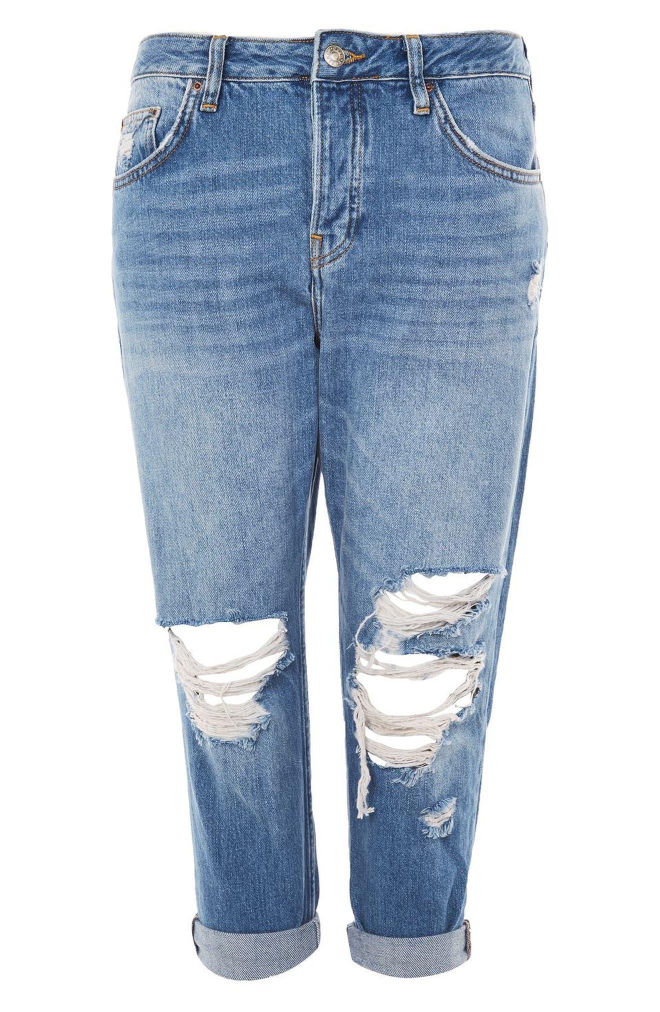 Hayden Ripped Boyfriend Jeans,                             Alternate thumbnail 4, color,                             Mid Denim
