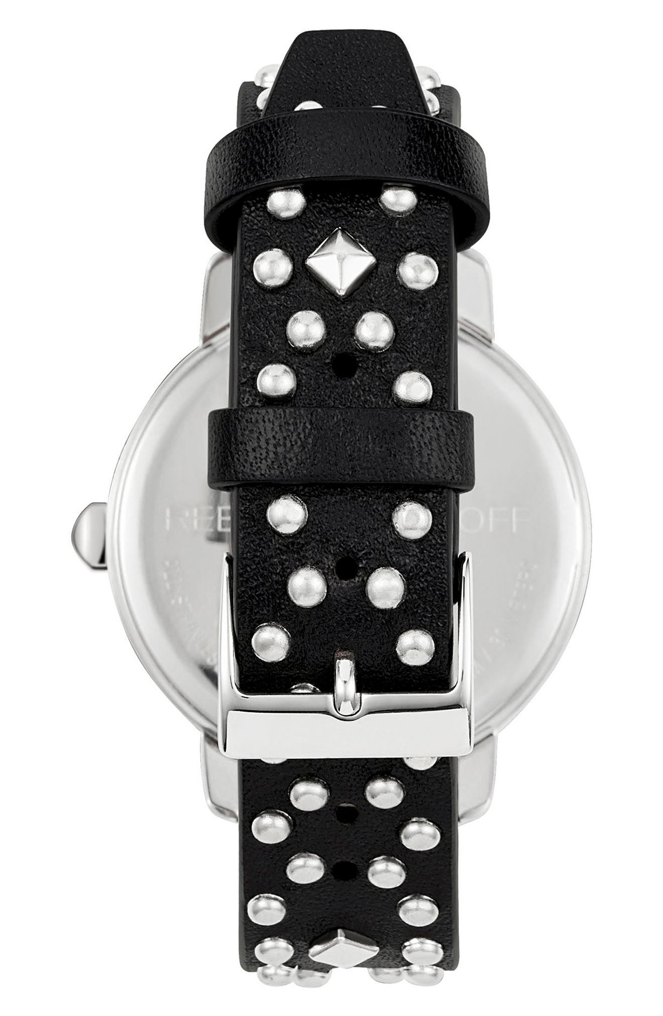 BFFL Studded Leather Strap Watch, 36mm,                             Alternate thumbnail 2, color,                             Black/ Silver