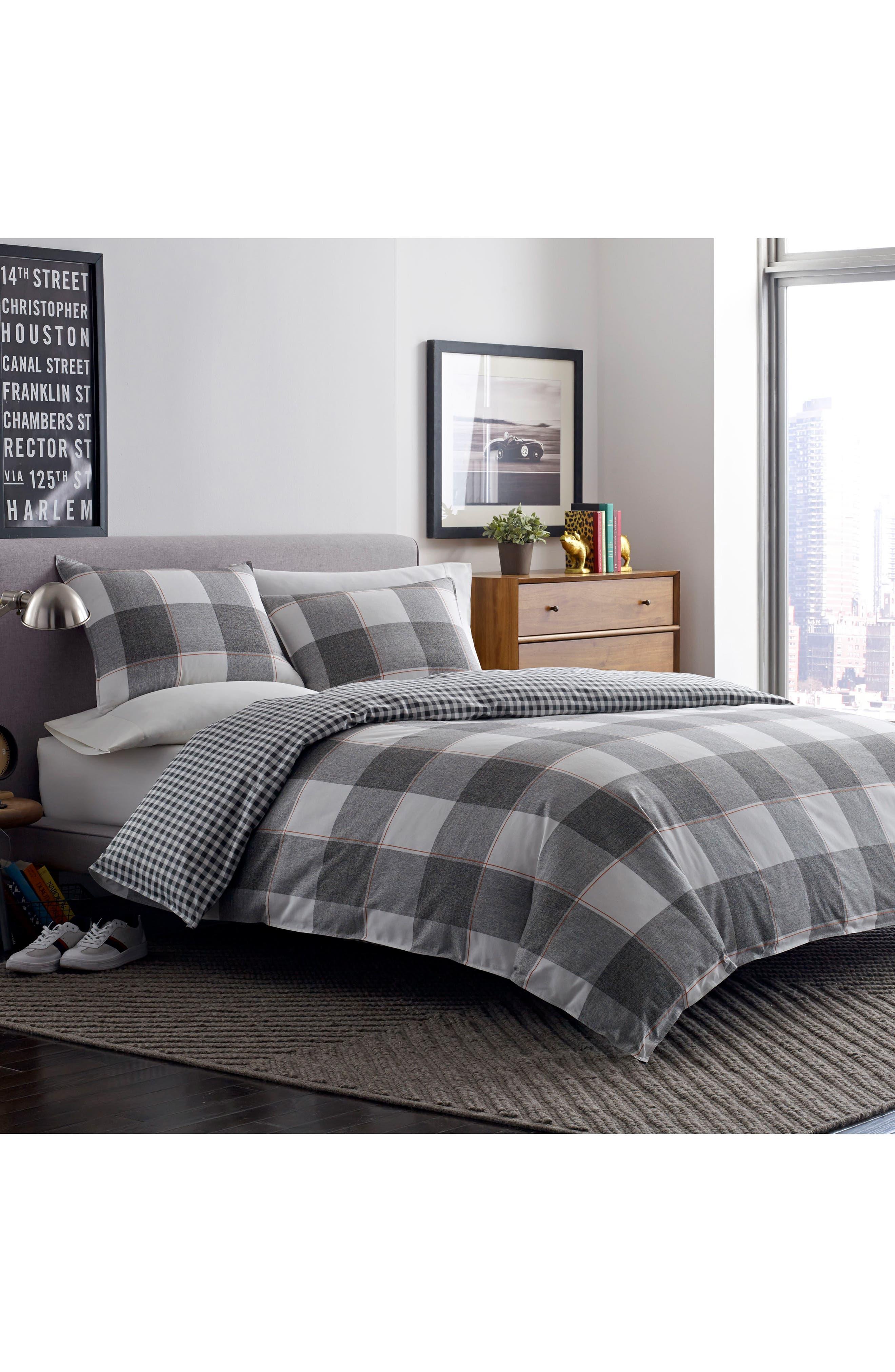 Flynn Comforter & Sham Set,                         Main,                         color, Grey