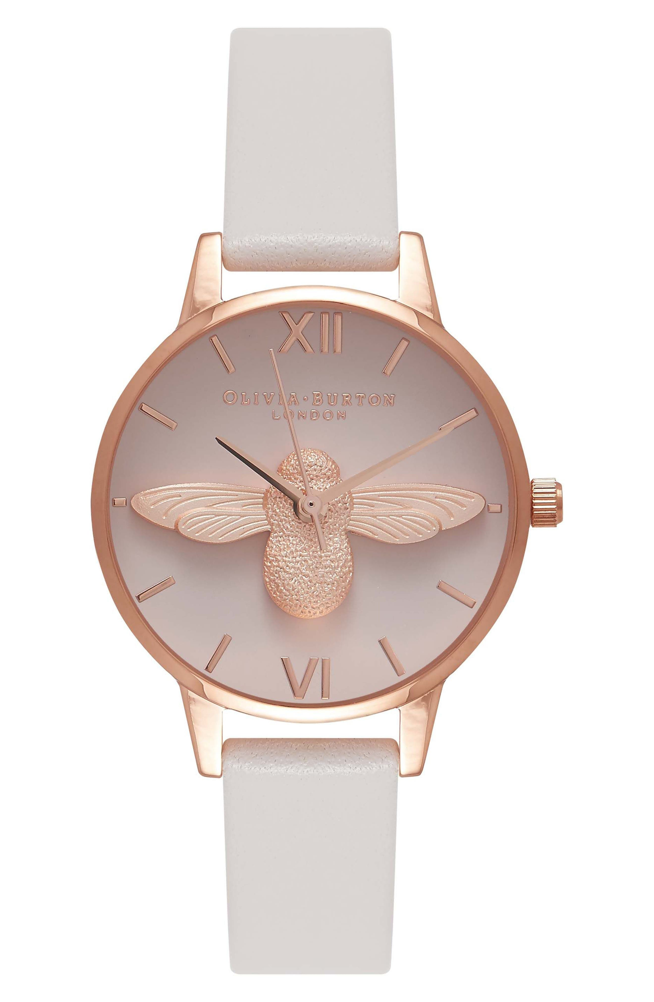 Olivia Burton Molded Bee Leather Strap Watch, 30mm