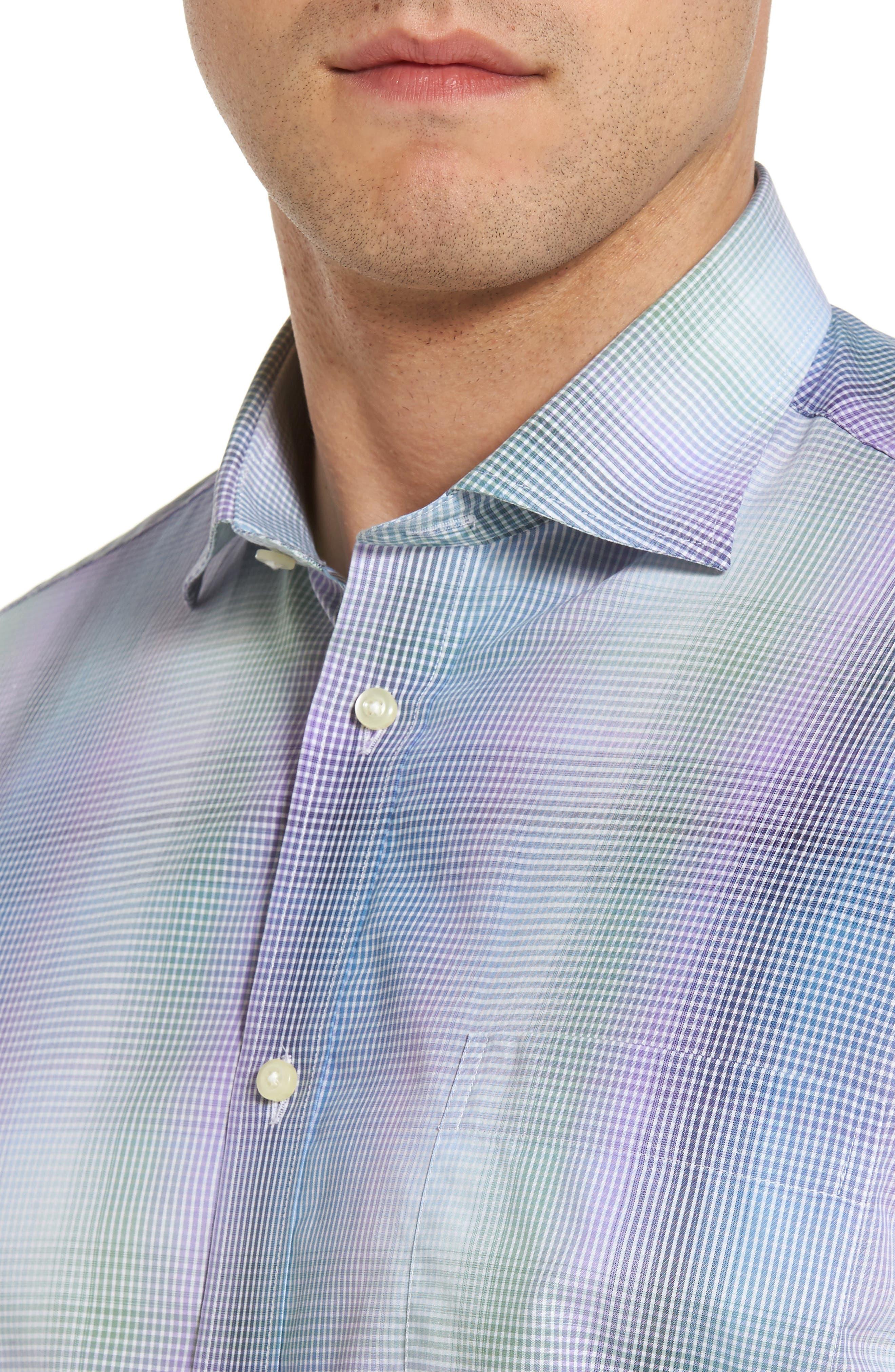 Alternate Image 4  - Thomas Dean Classic Fit Shadow Check Sport Shirt