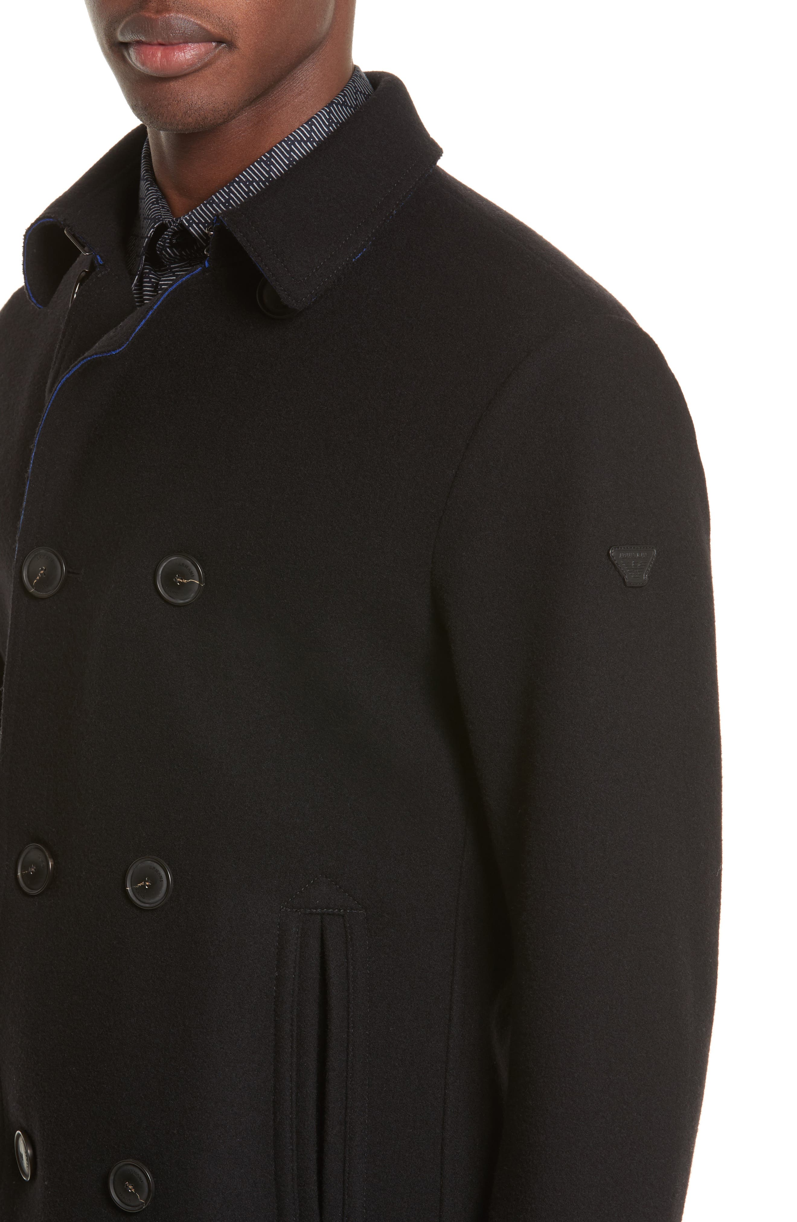 Double Breasted Peacoat,                             Alternate thumbnail 4, color,                             Black