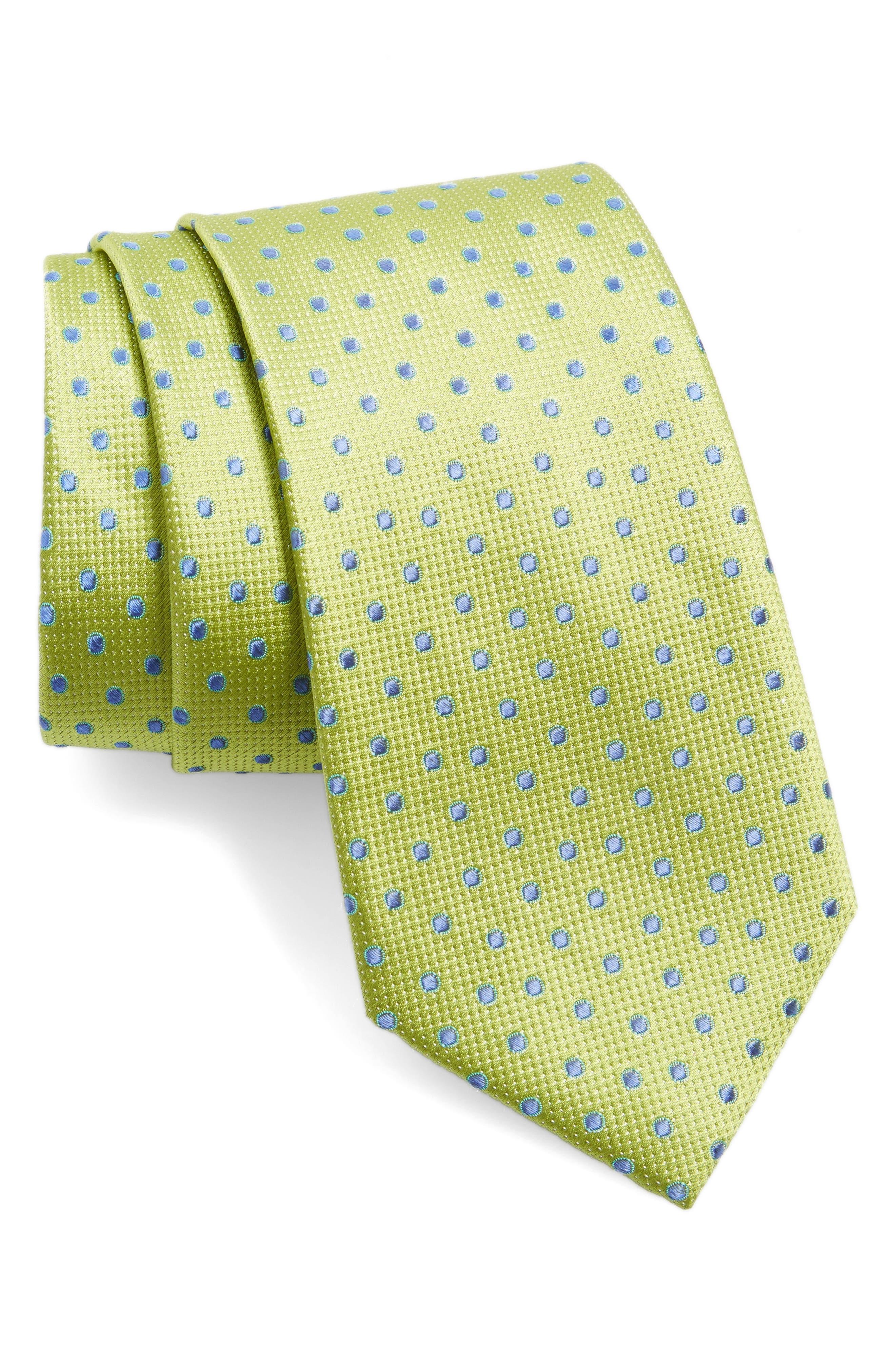 Double Dot Silk Tie,                         Main,                         color, Lime