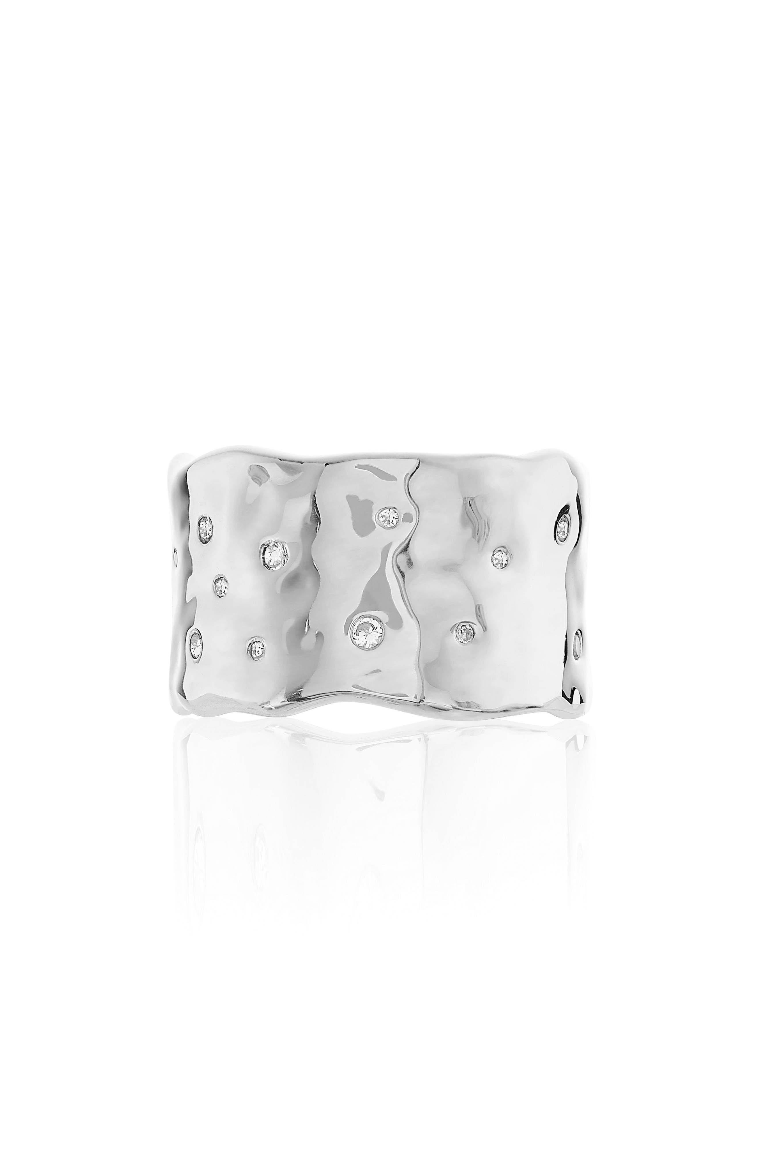 Siren Scatter Band Ring,                             Main thumbnail 1, color,                             Silver/ White Topaz
