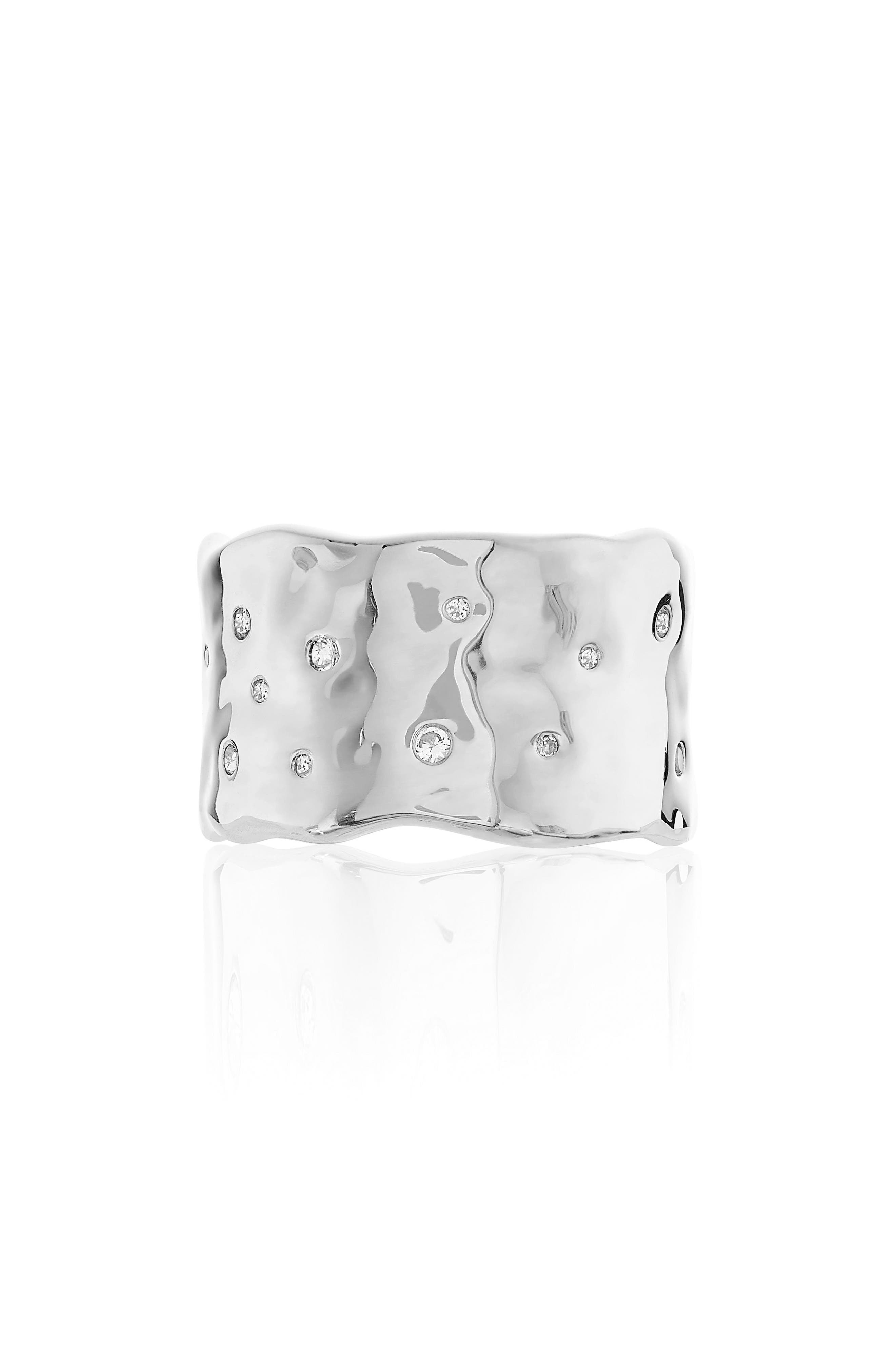Siren Scatter Band Ring,                         Main,                         color, Silver/ White Topaz