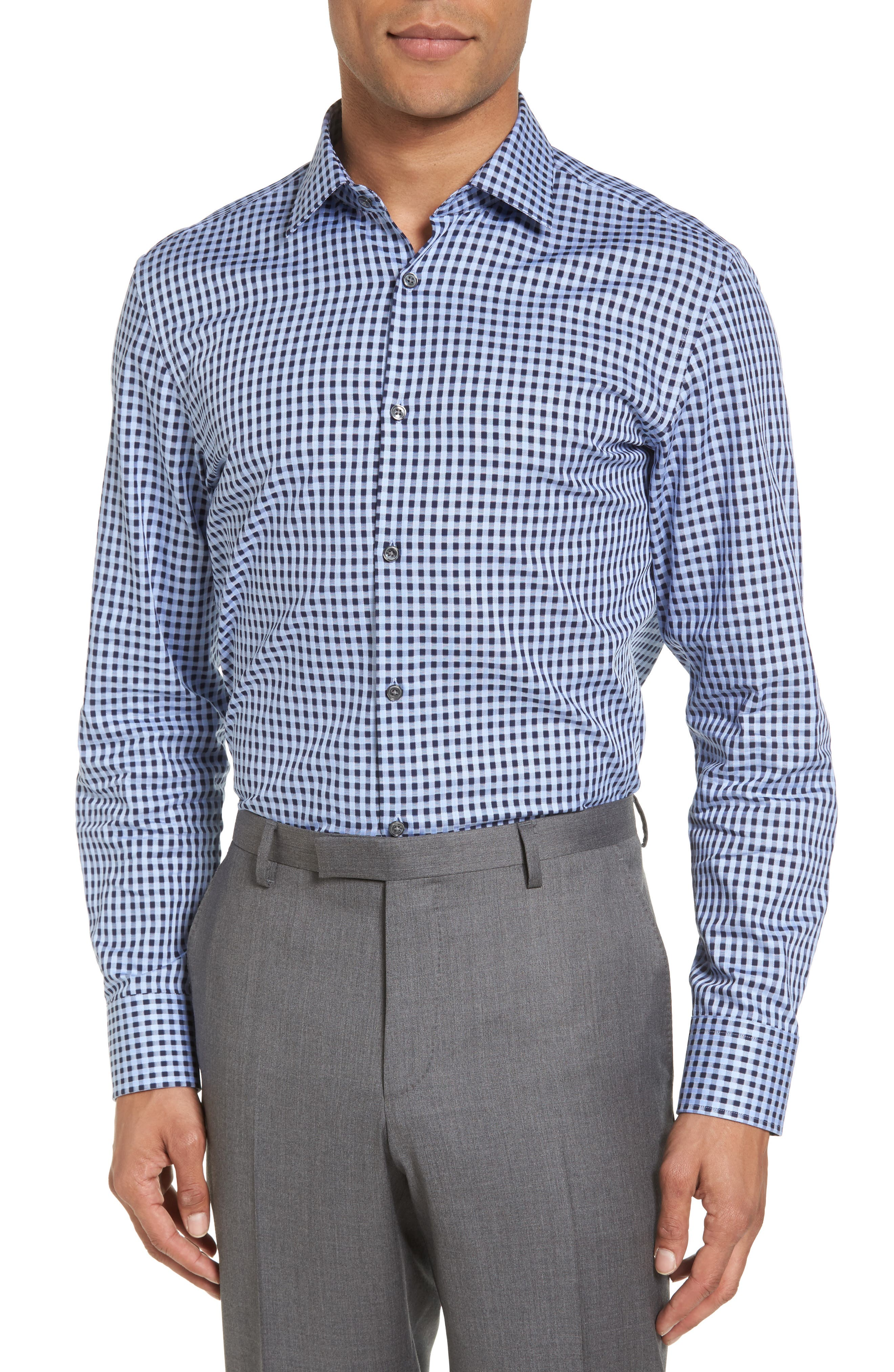 Sharp Fit Check Dress Shirt,                             Alternate thumbnail 2, color,                             Blue