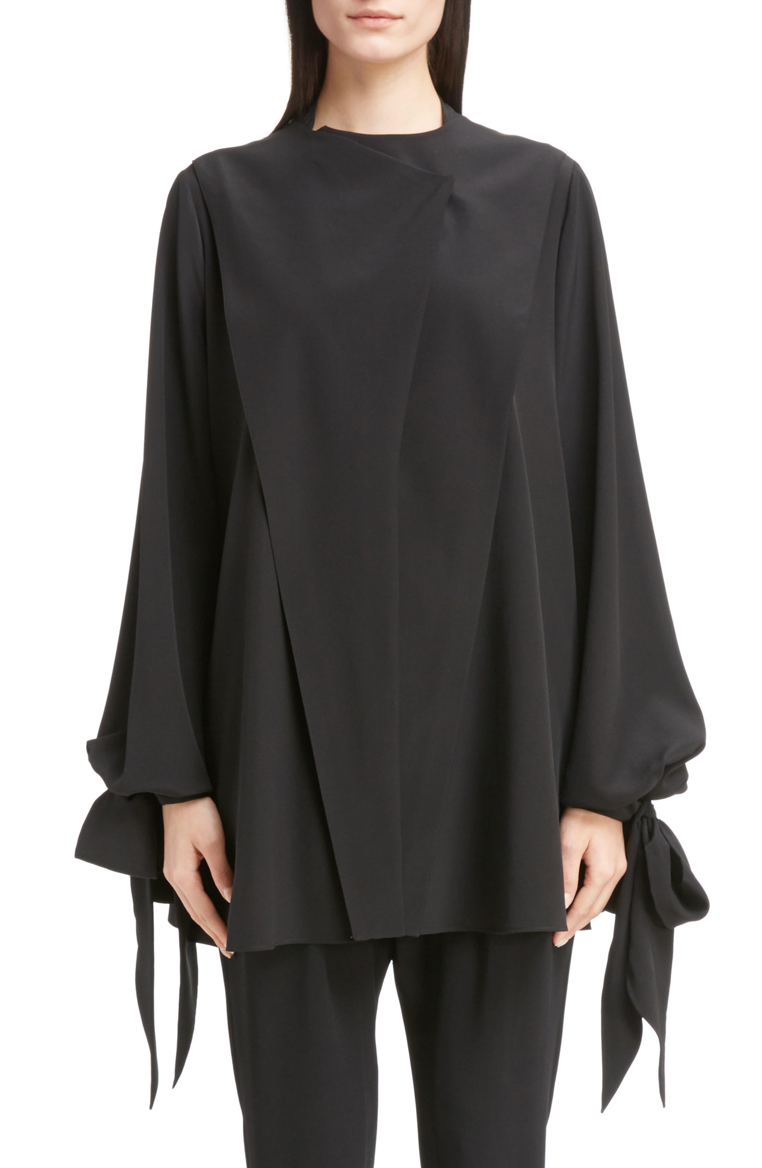Silk Drape Top,                         Main,                         color, Black