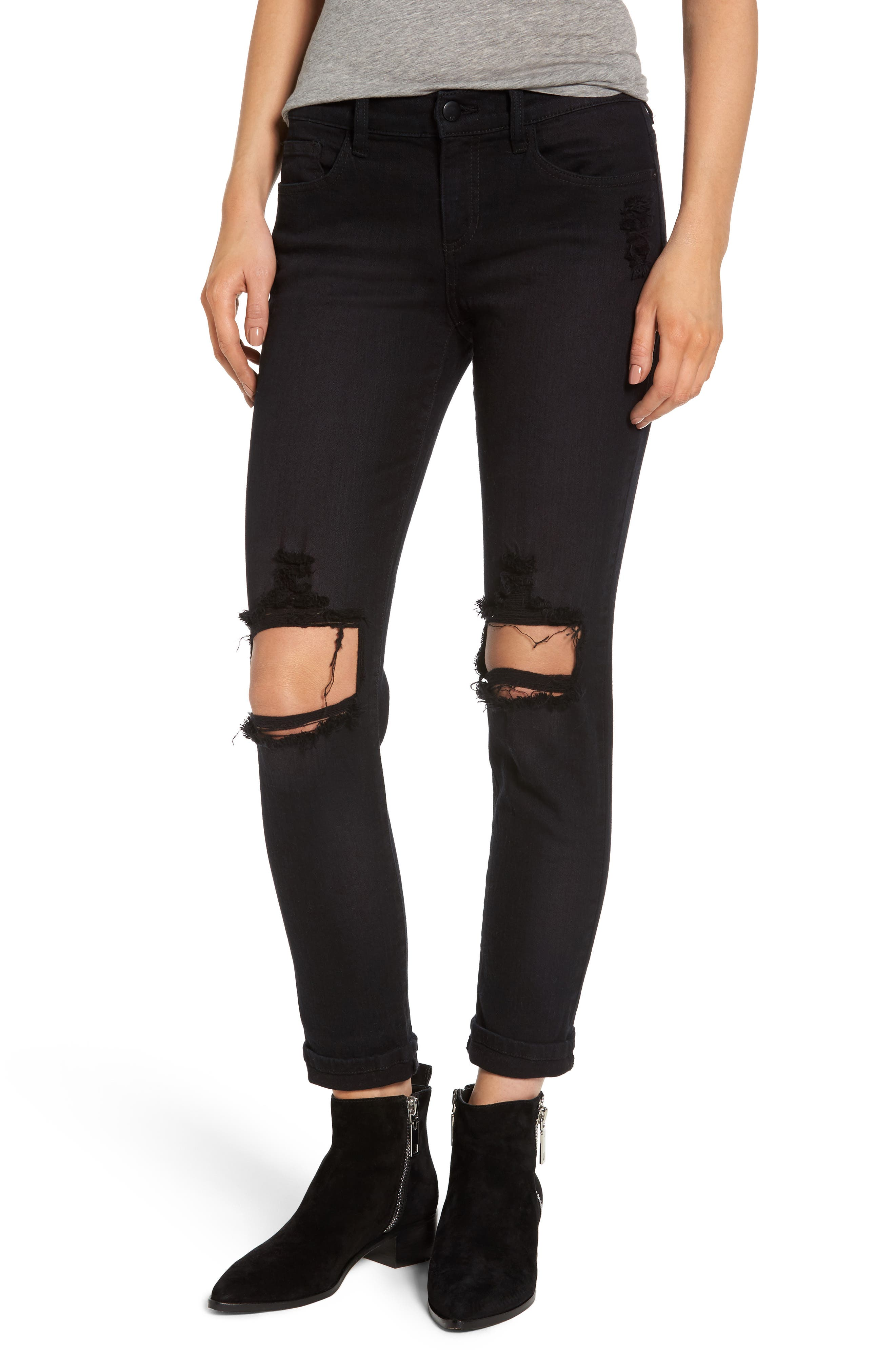 Alternate Image 1 Selected - SP Black Destroyed Boyfriend Jeans