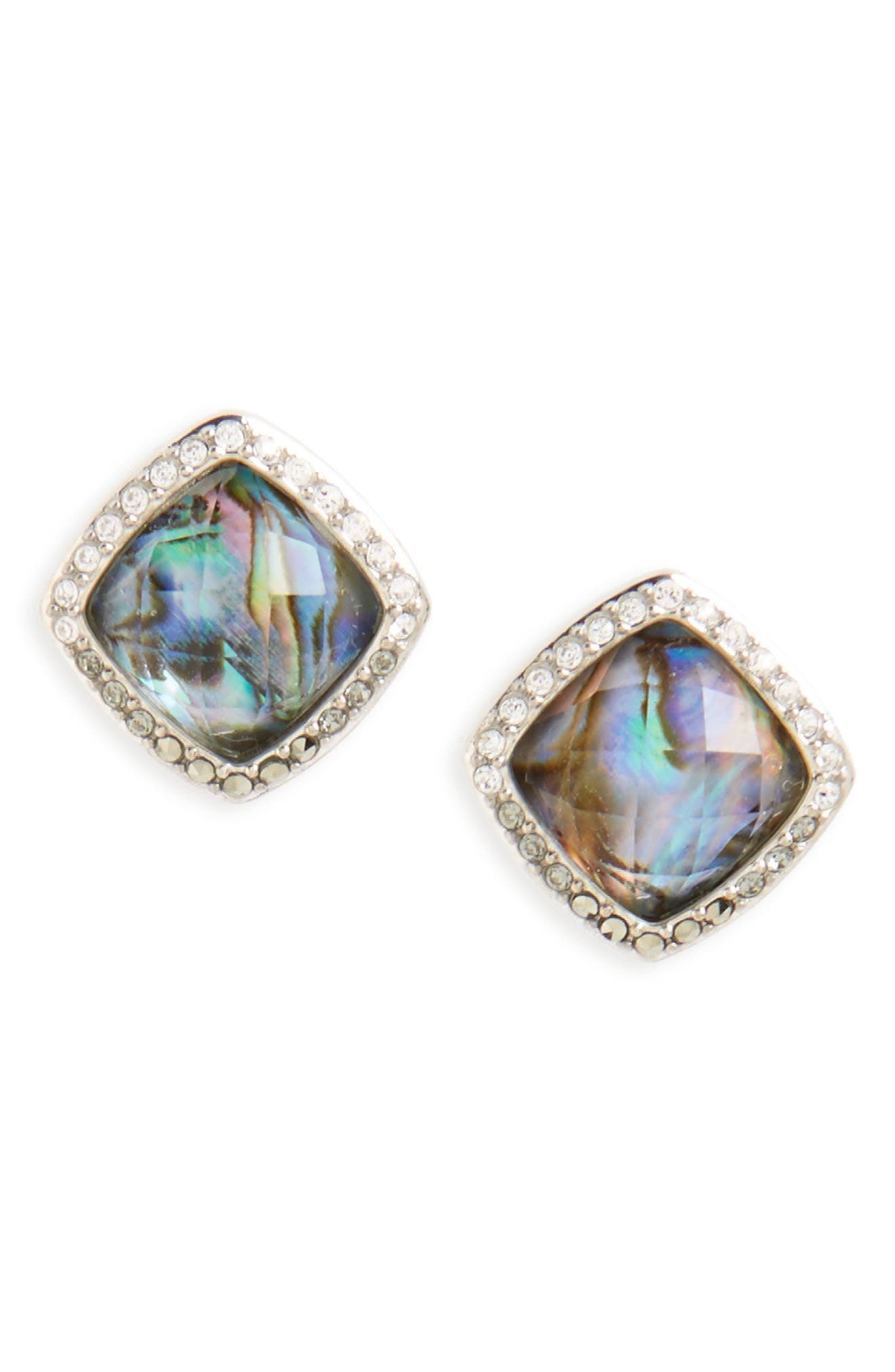 Tropical Touches Doublet Stud Earrings,                         Main,                         color, Abalone/ Black Diamond
