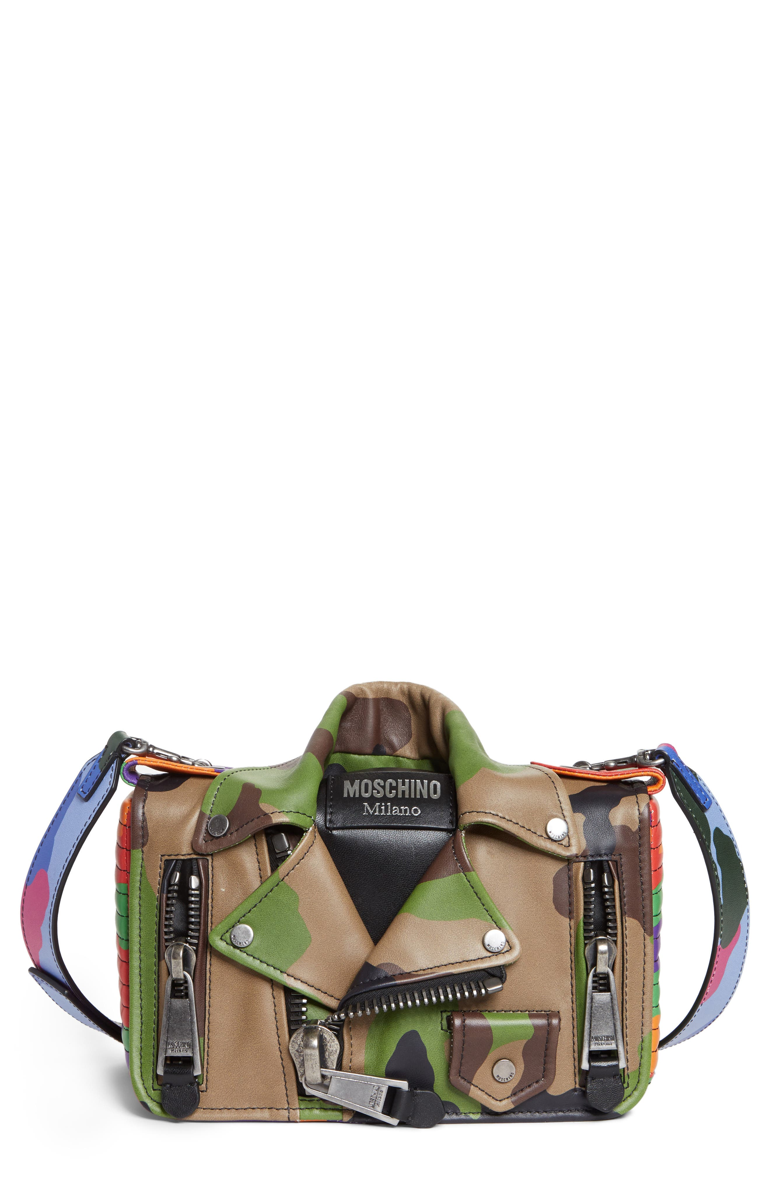 MOSCHINO Small Biker Jacket Multi Camo Shoulder Bag