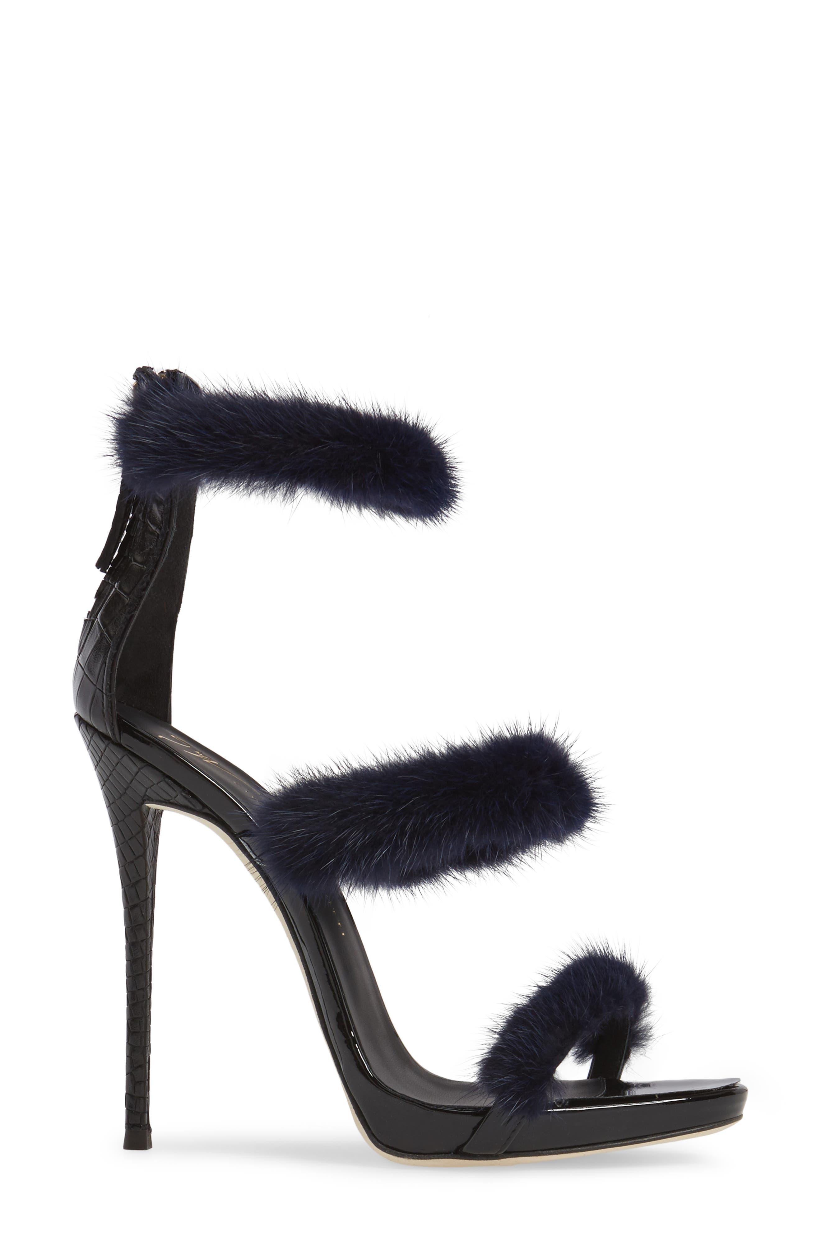 Genuine Mink Fur Triple Band Sandal,                             Alternate thumbnail 3, color,                             Navy/ Black