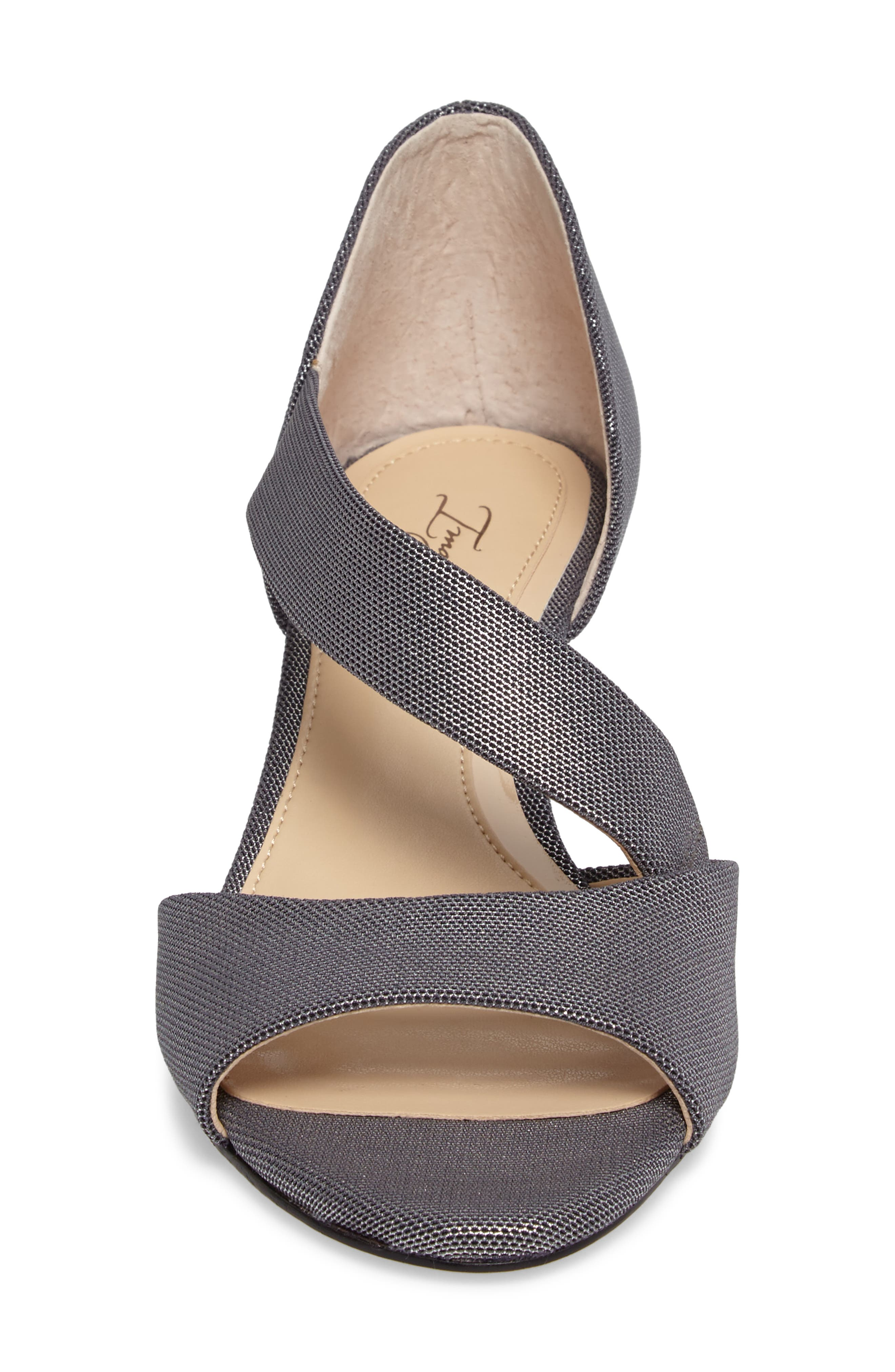 Jefre Wedgee Sandal,                             Alternate thumbnail 4, color,                             Anthracite Fabric