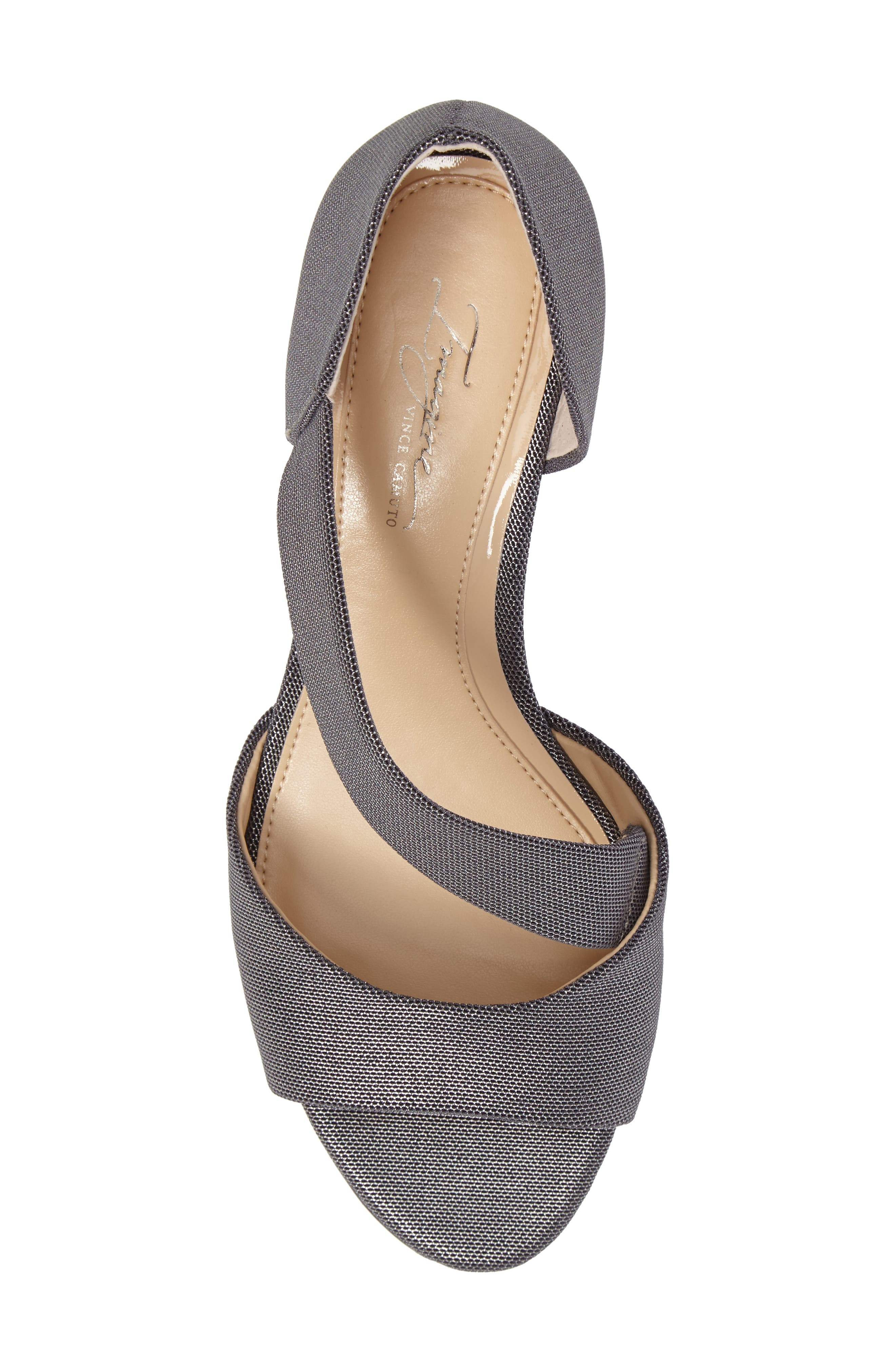 Jefre Wedgee Sandal,                             Alternate thumbnail 5, color,                             Anthracite Fabric