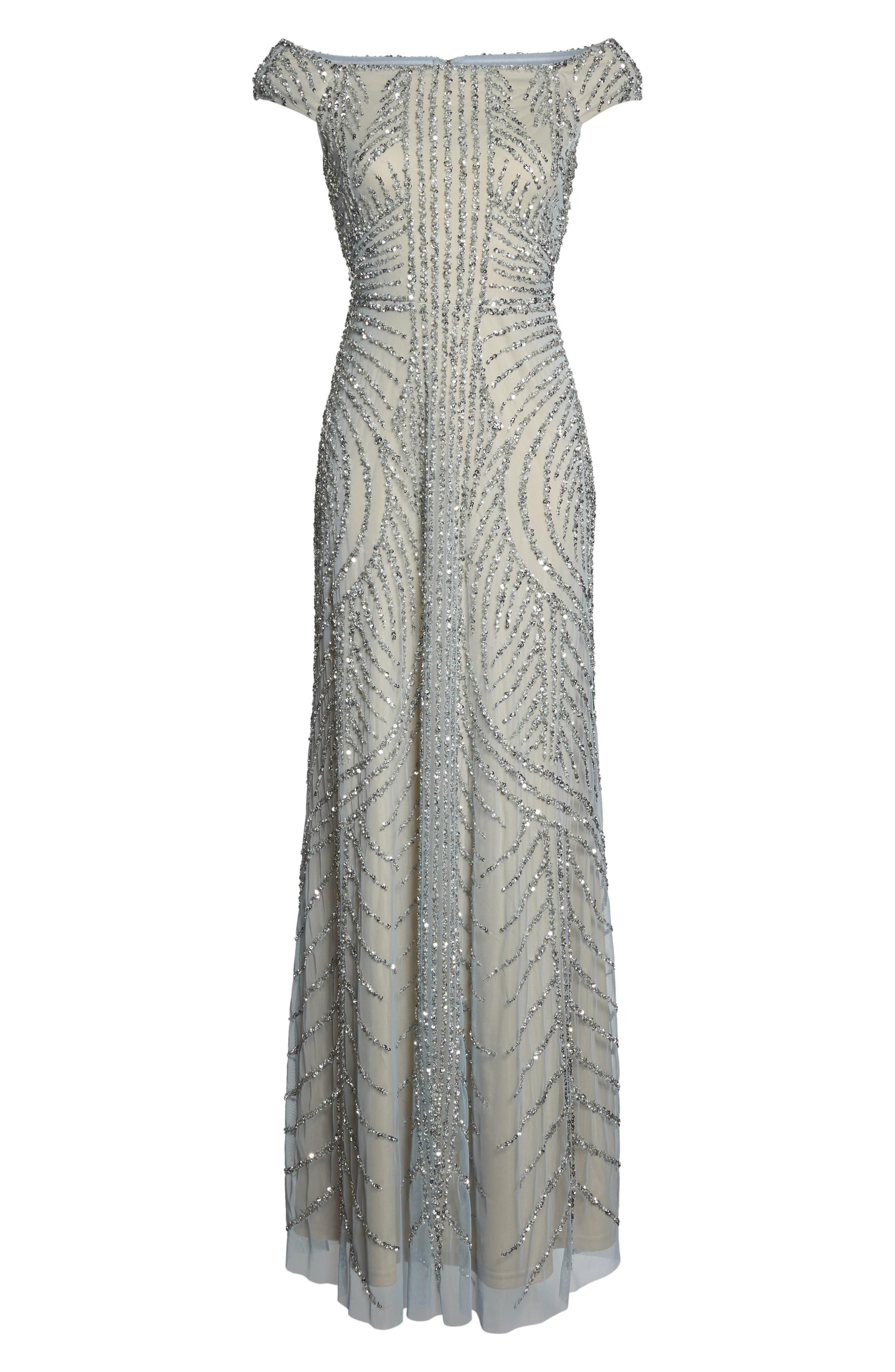 Alternate Image 6  - Adrianna Papell Off the Shoulder Beaded Gown (Regular & Petite)
