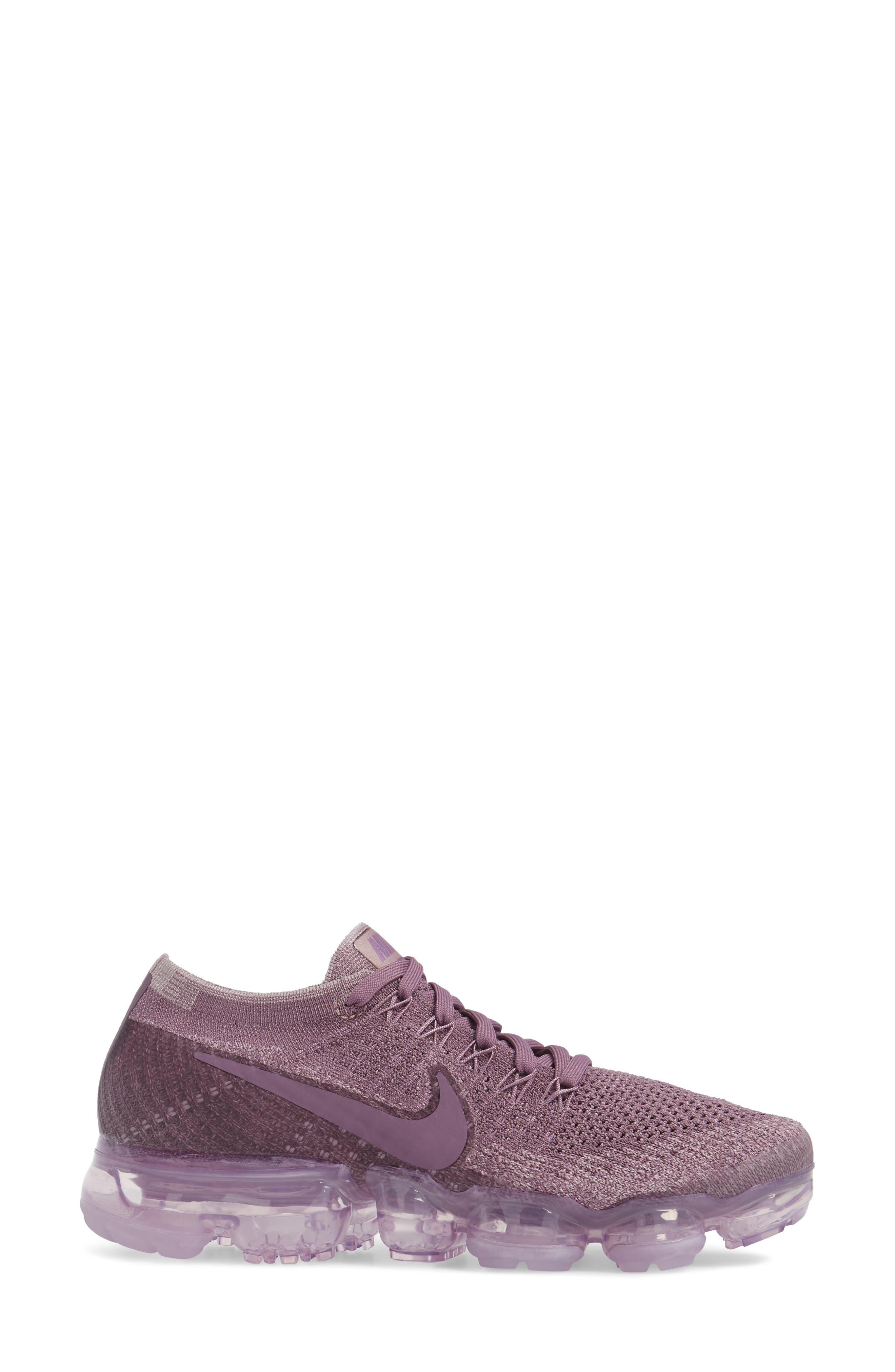 Air VaporMax Flyknit Running Shoe,                             Alternate thumbnail 3, color,                             Violet Dust/ Plum Fog