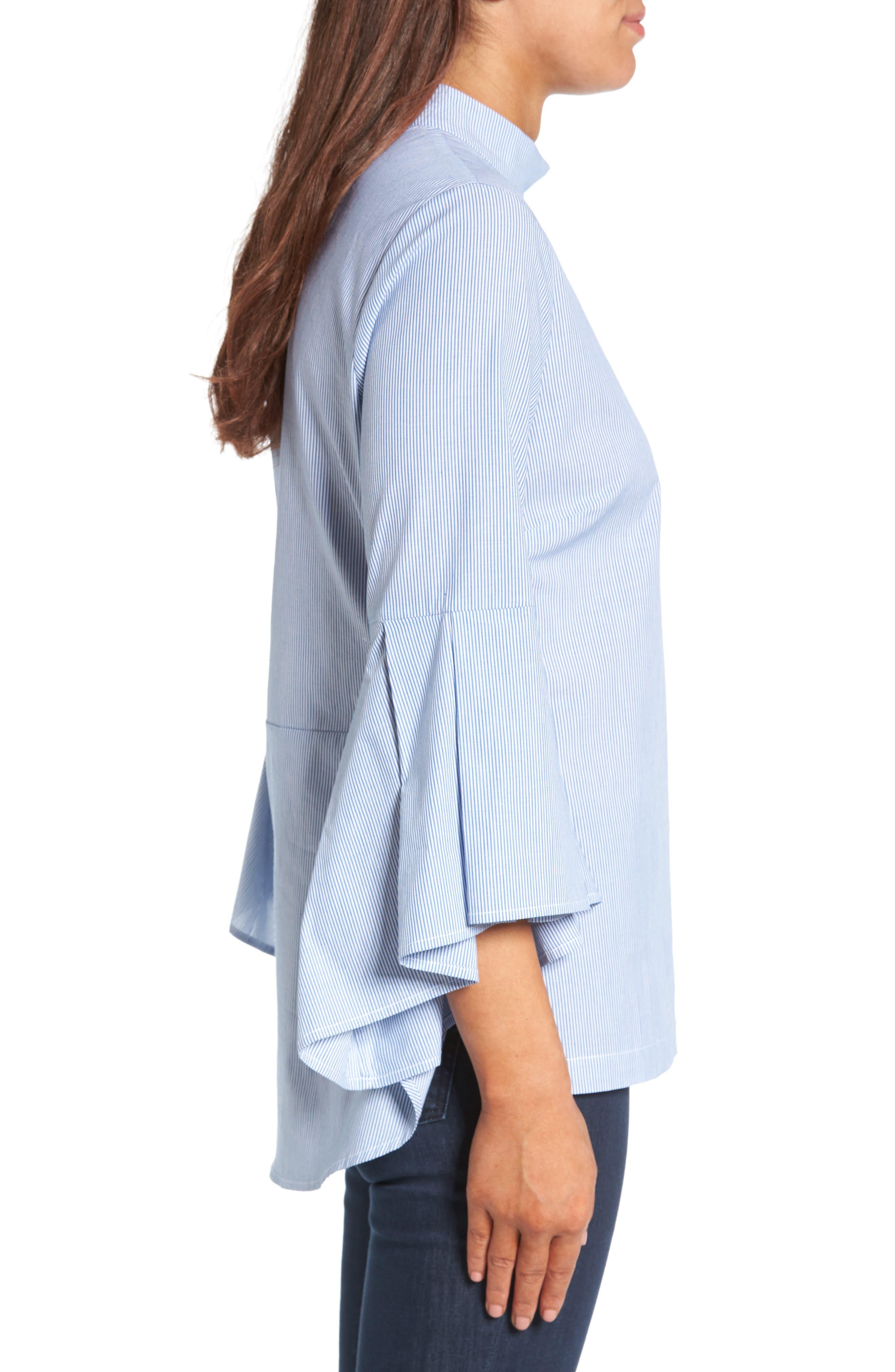 Ruffle Sleeve Poplin Shirt,                             Alternate thumbnail 4, color,                             Blue/ White Stripe