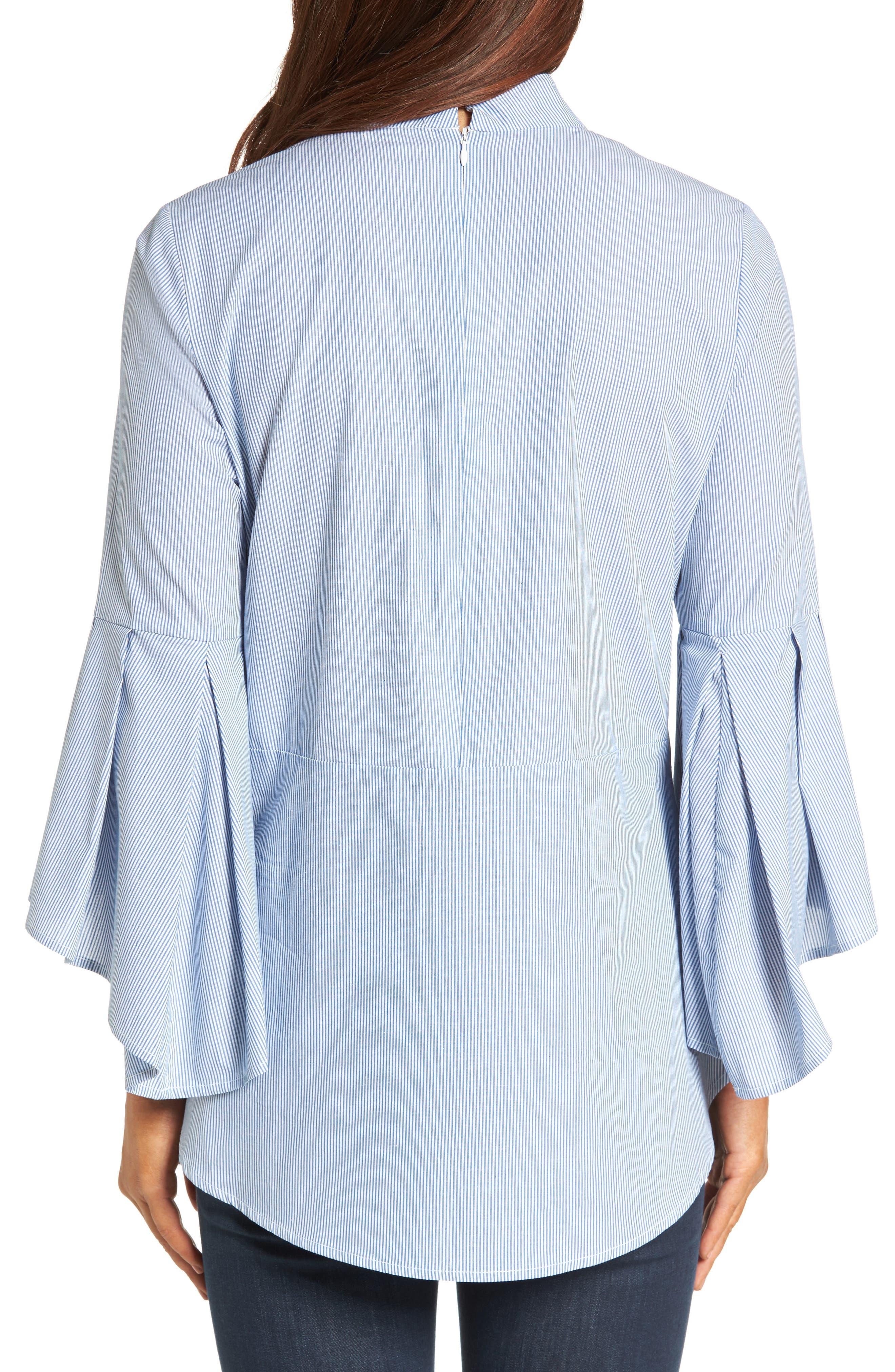 Ruffle Sleeve Poplin Shirt,                             Alternate thumbnail 3, color,                             Blue/ White Stripe