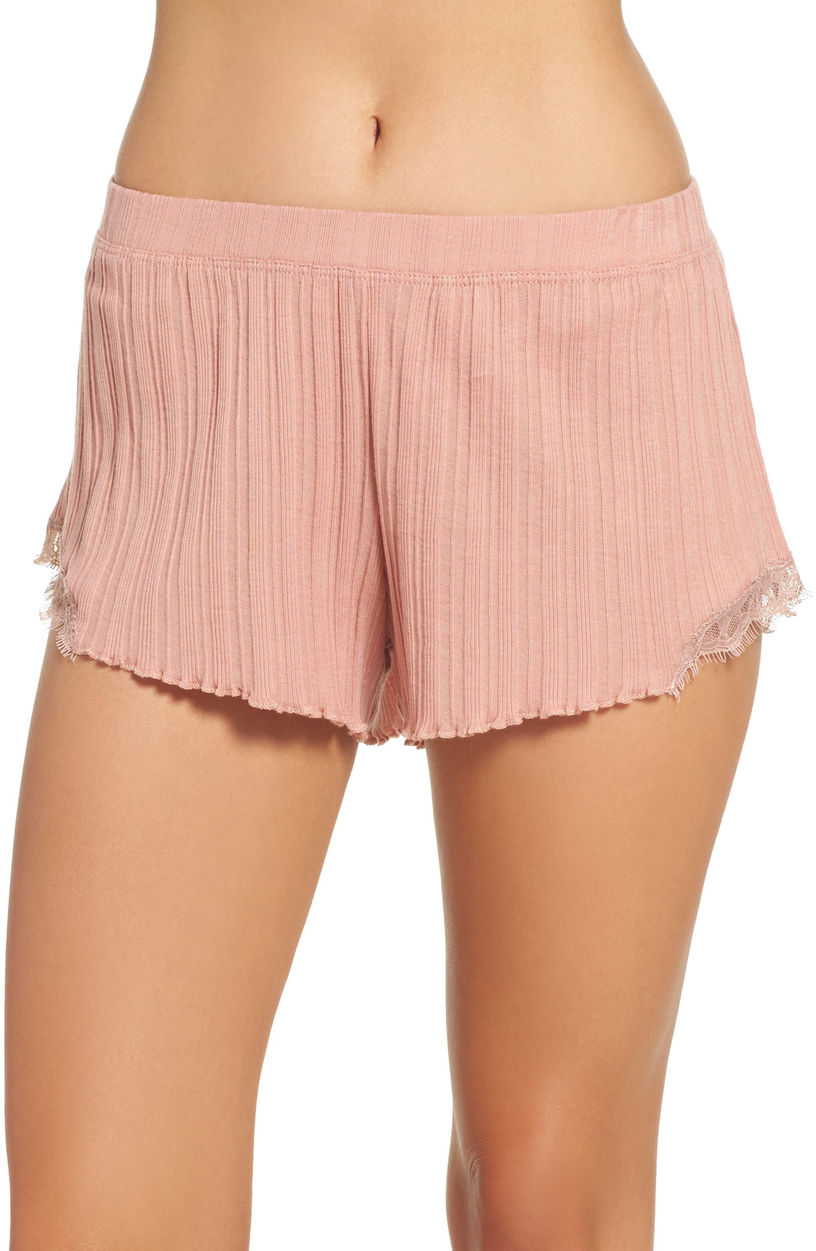 Ribbed Shorts,                         Main,                         color, Vintage Pink