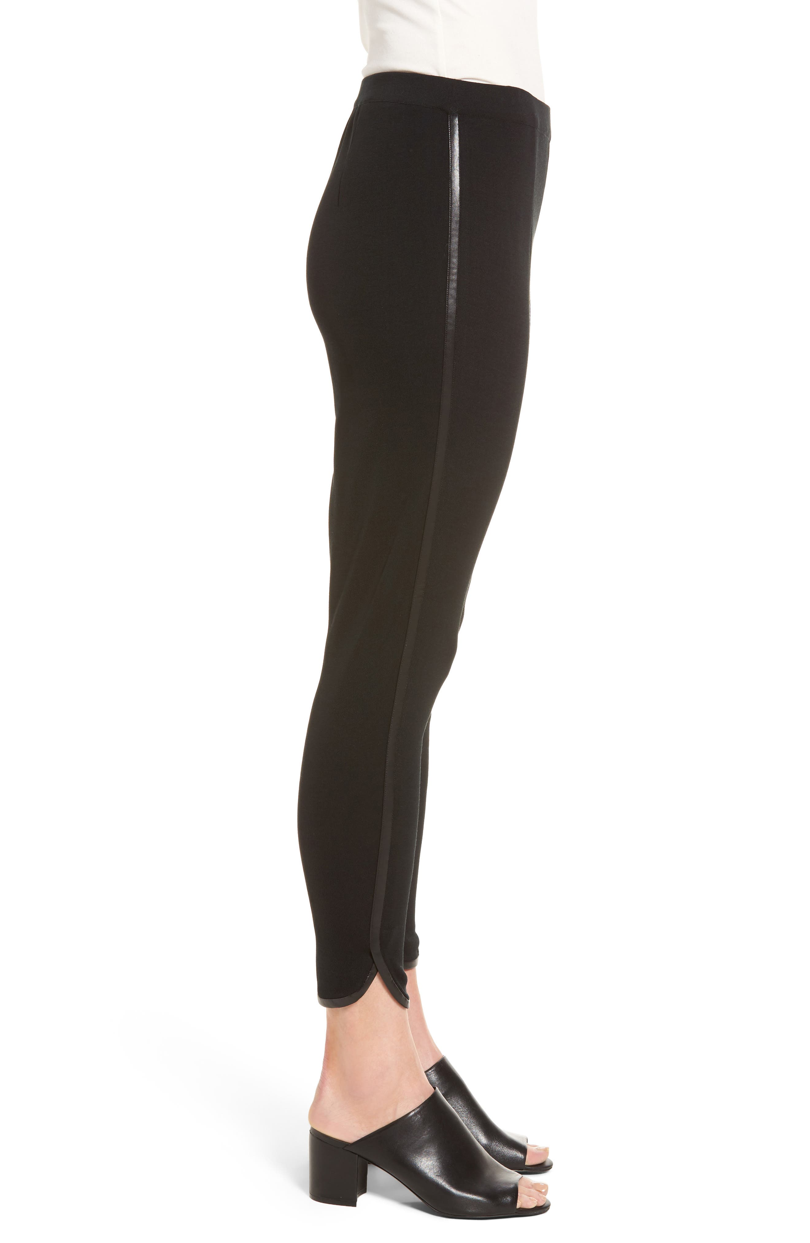 Alternate Image 3  - Ming Wang Faux Leather Trim Leggings