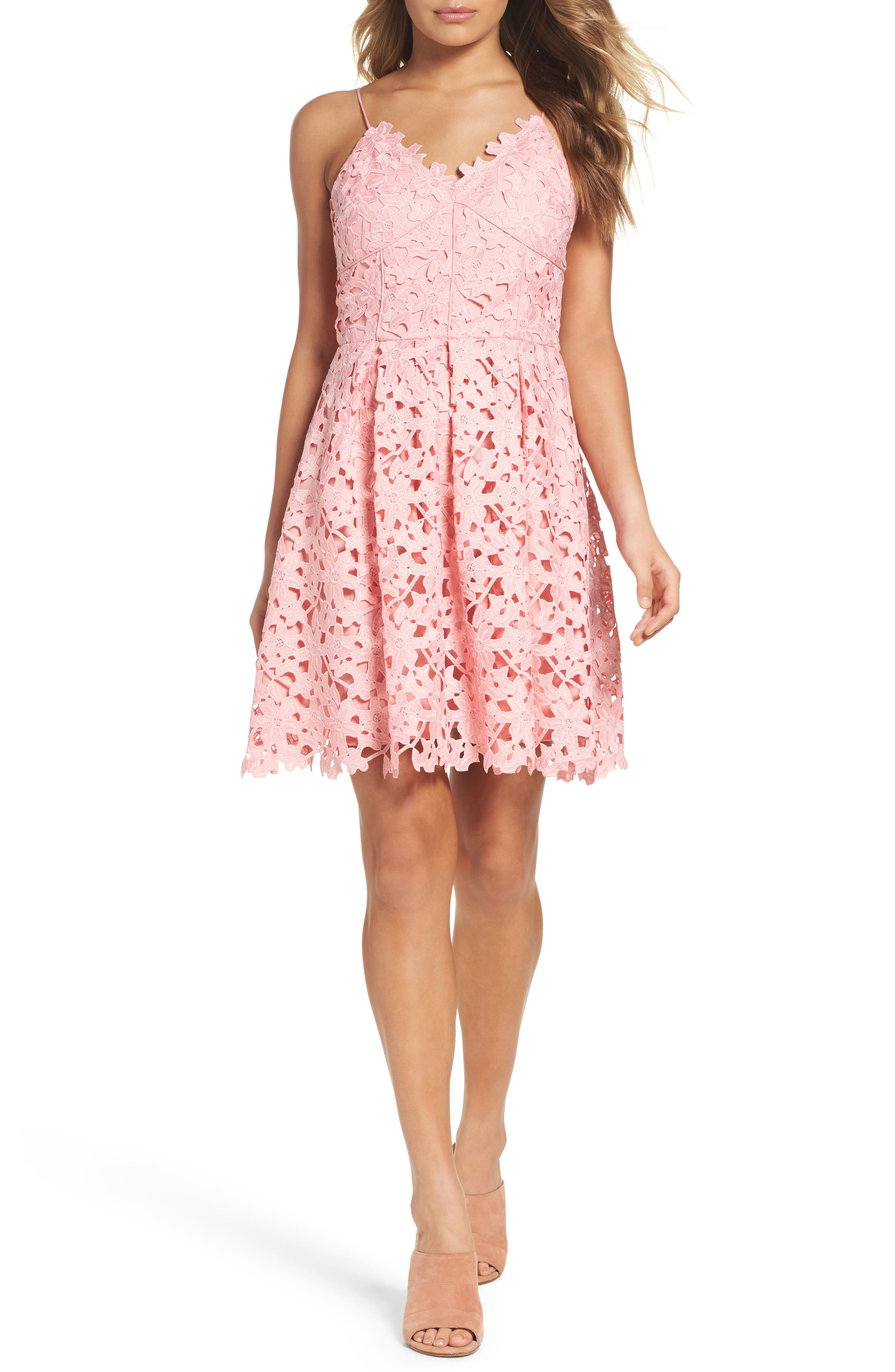 Main Image - Adelyn Rae Lace Fit & Flare Dress
