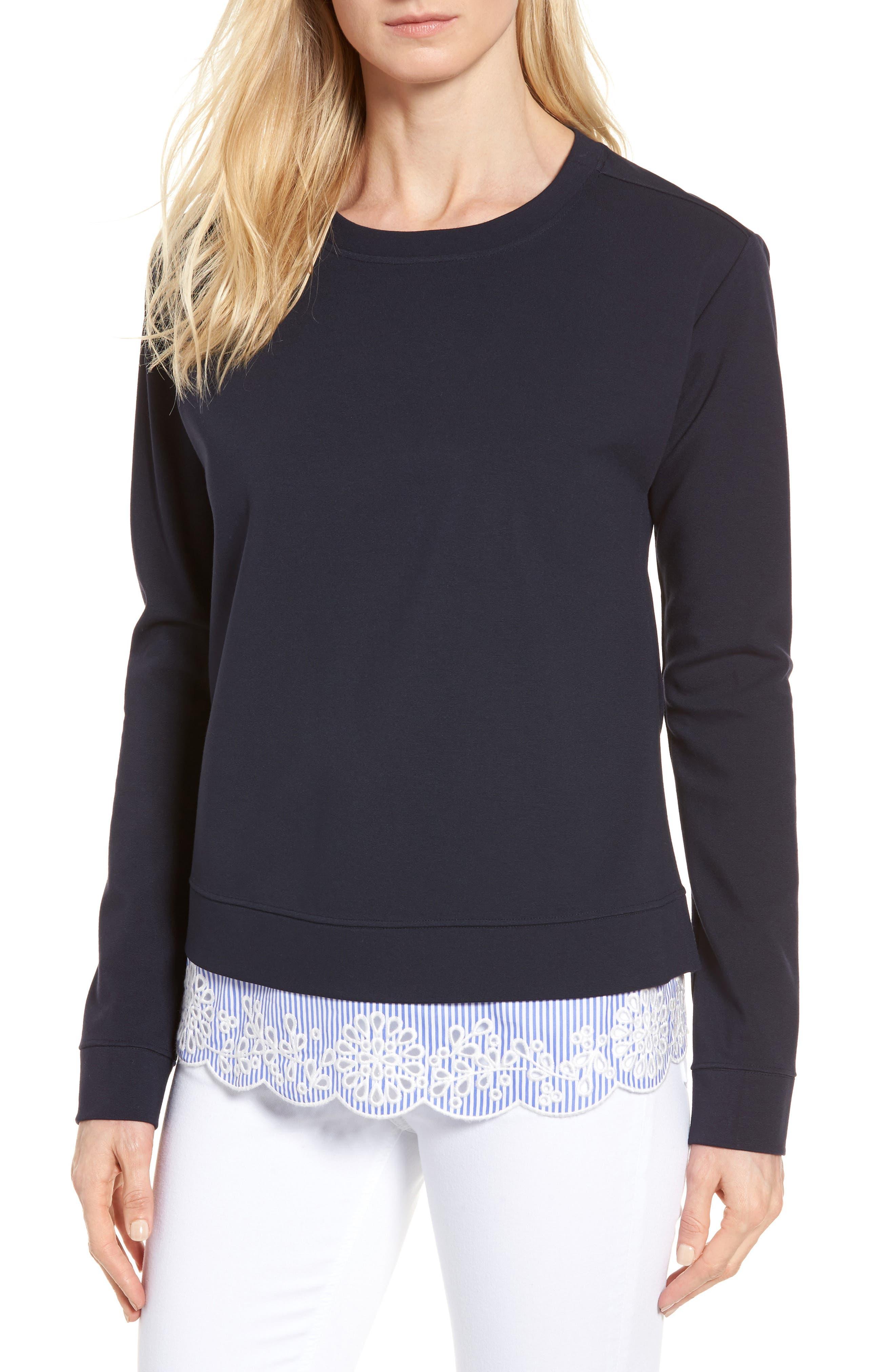 Woven Inset Ponte Knit Sweatshirt,                             Main thumbnail 1, color,                             Navy Night