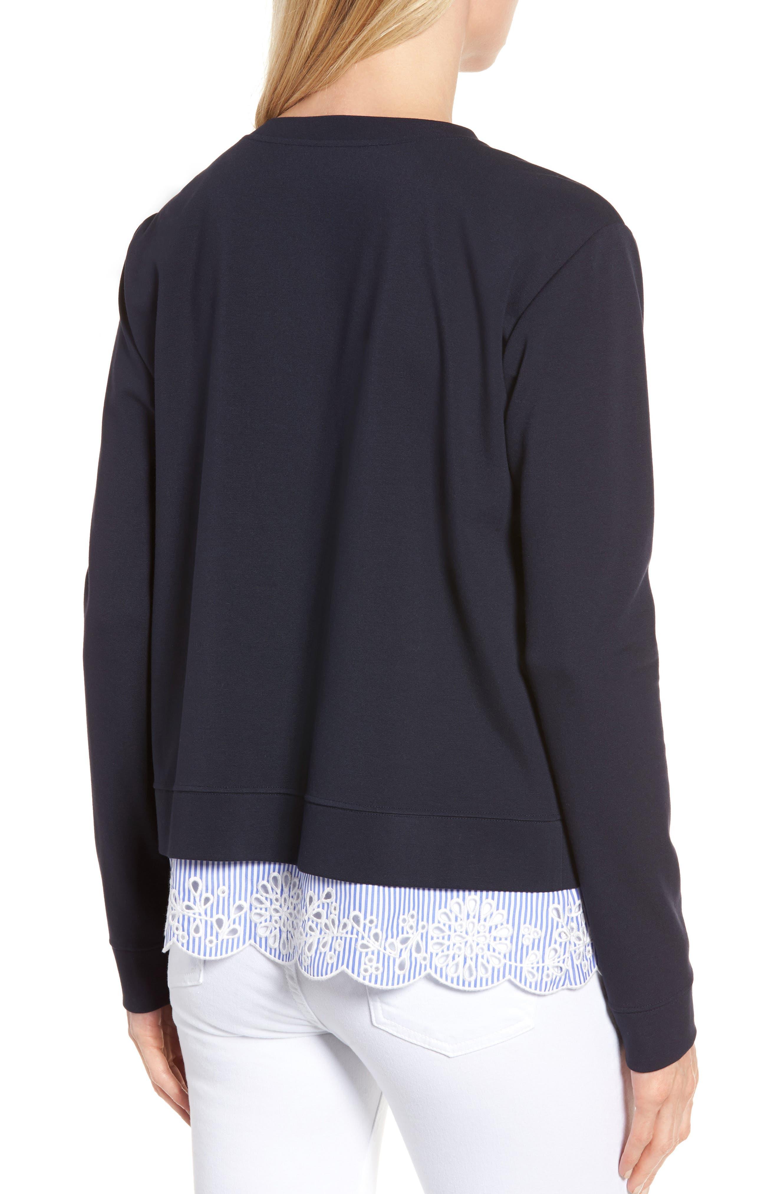 Woven Inset Ponte Knit Sweatshirt,                             Alternate thumbnail 2, color,                             Navy Night