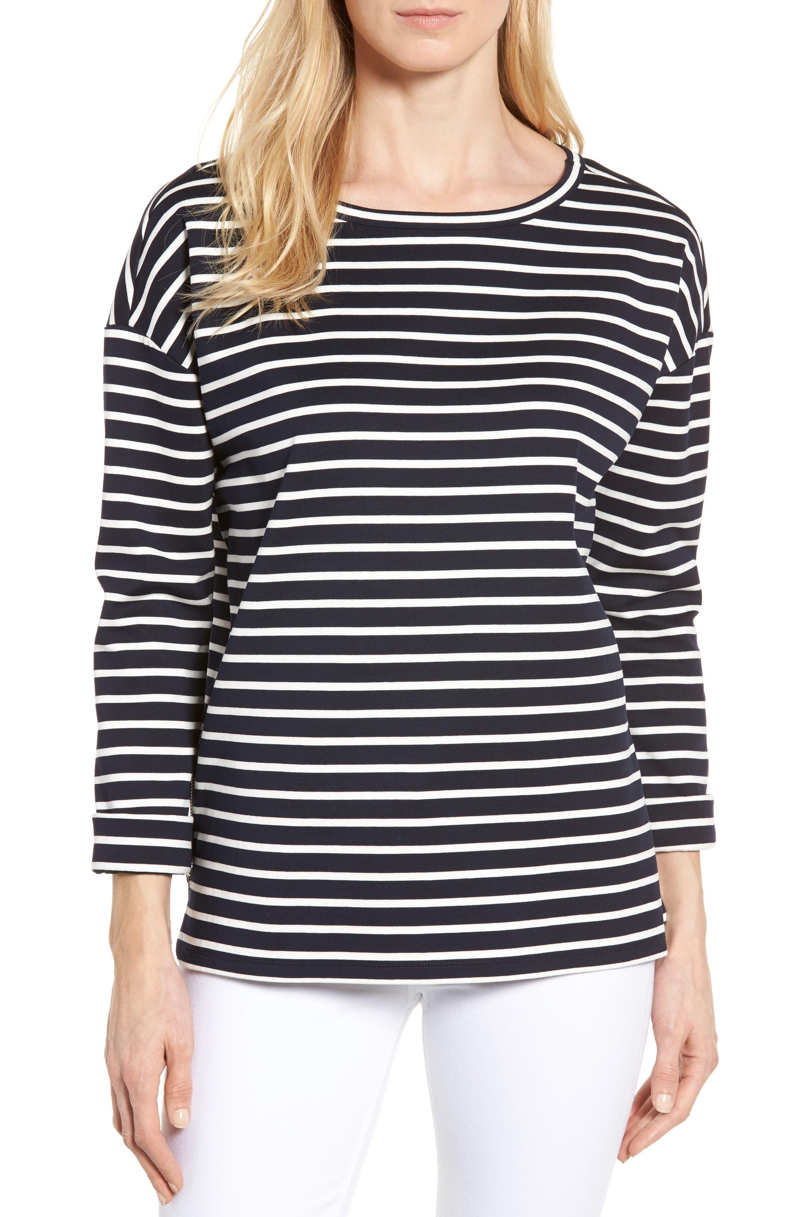 Alternate Image 1 Selected - Nordstrom Signature Side Zip Stripe Sweatshirt