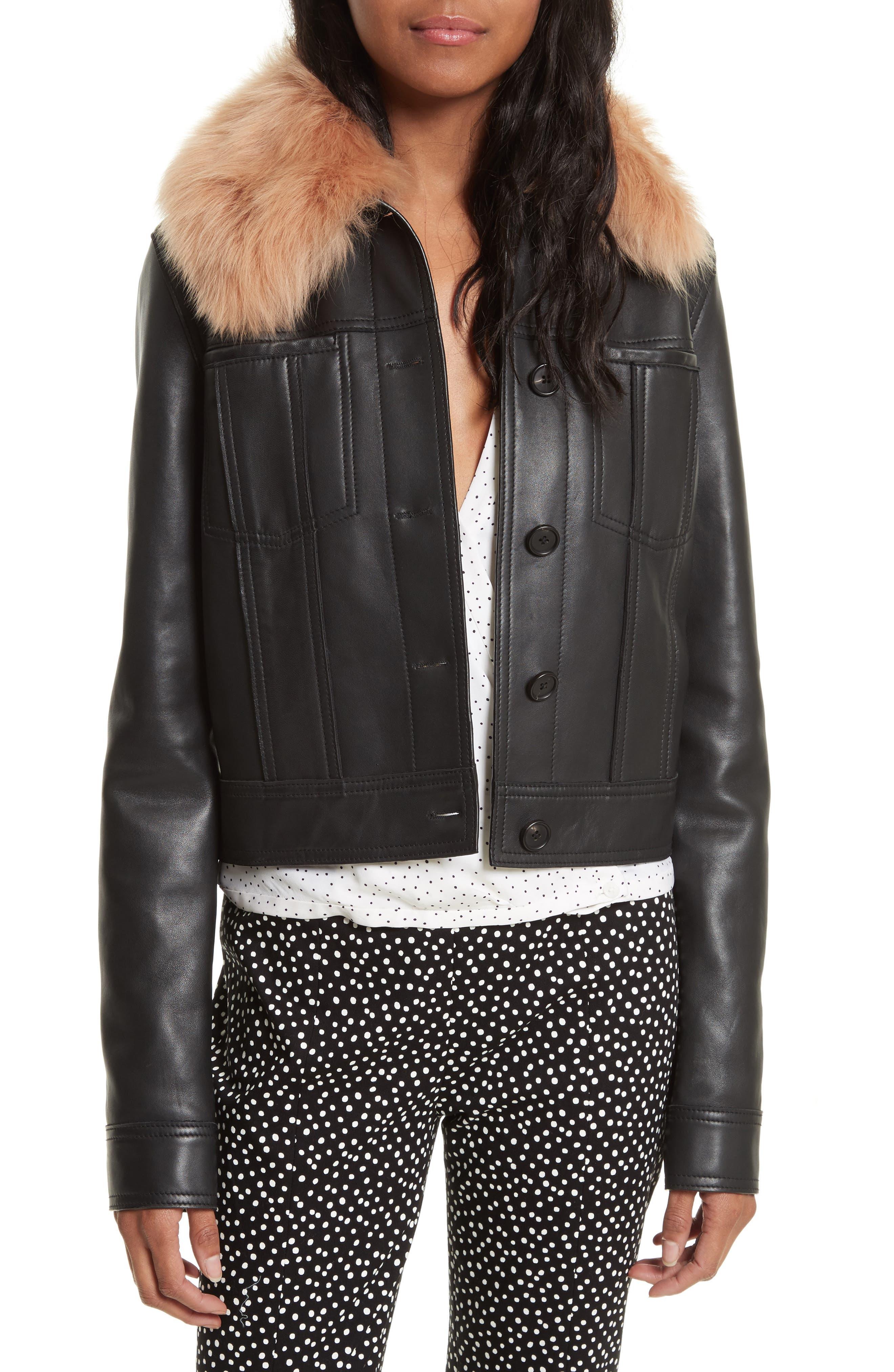 Diane Von Furstenberg Faux Fur Collar Leather Jacket