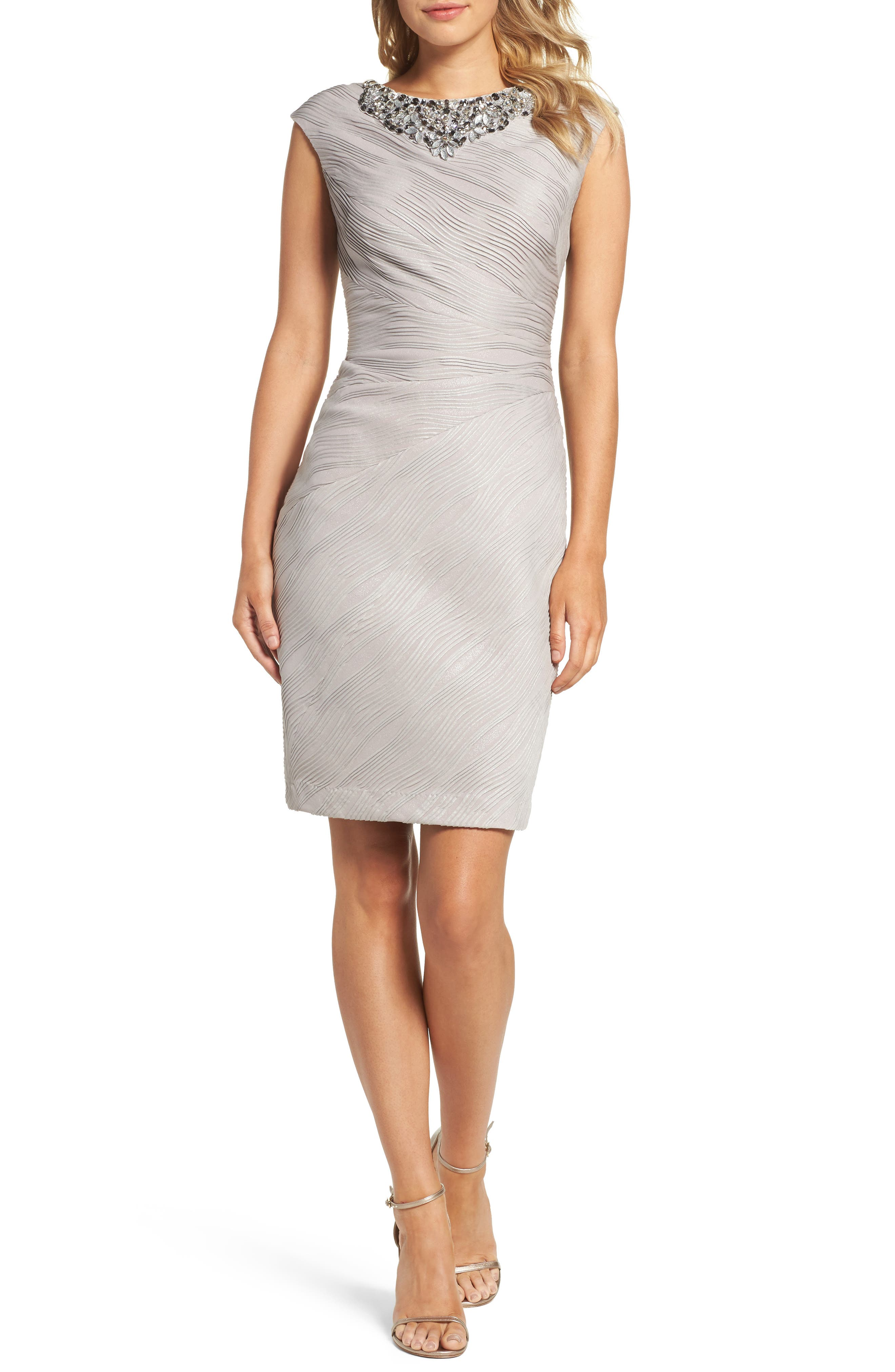 Embellished Neckline Sheath Dress,                             Main thumbnail 1, color,                             Taupe