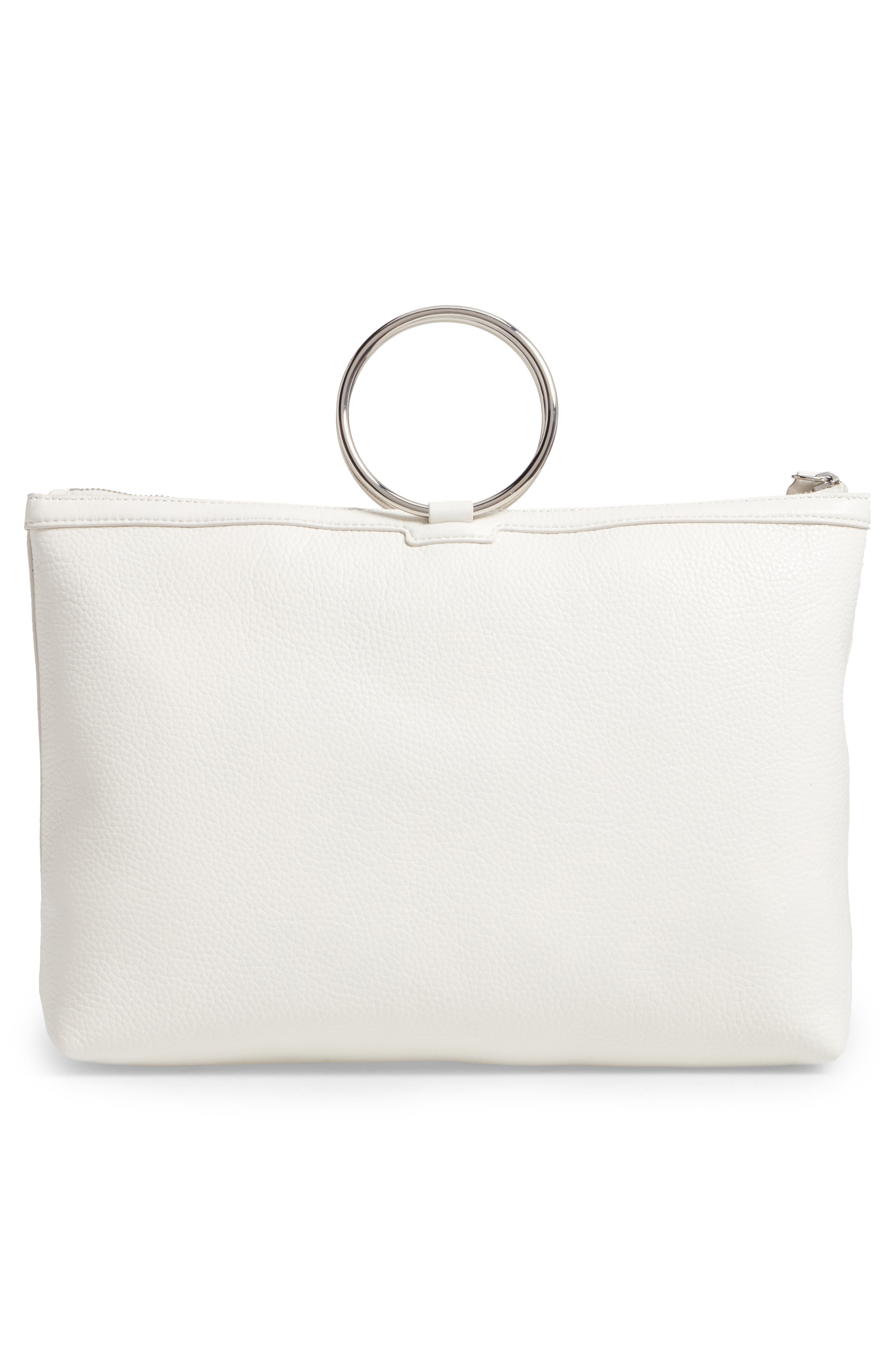 Large Pebbled Leather Ring Clutch,                             Alternate thumbnail 2, color,                             Off White