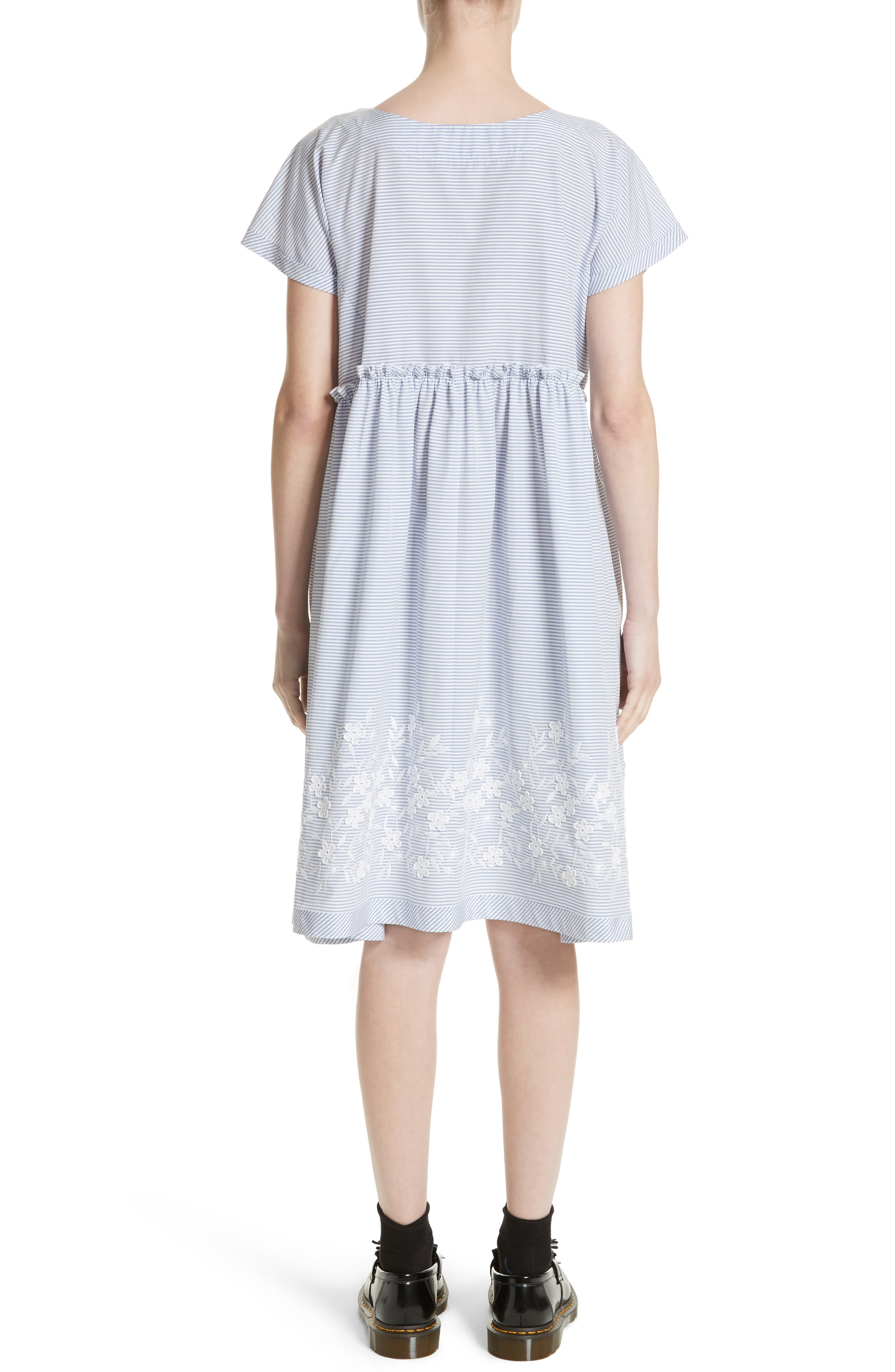 Floral Embroidered Stripe Shift Dress,                             Alternate thumbnail 2, color,                             Wide Stripe