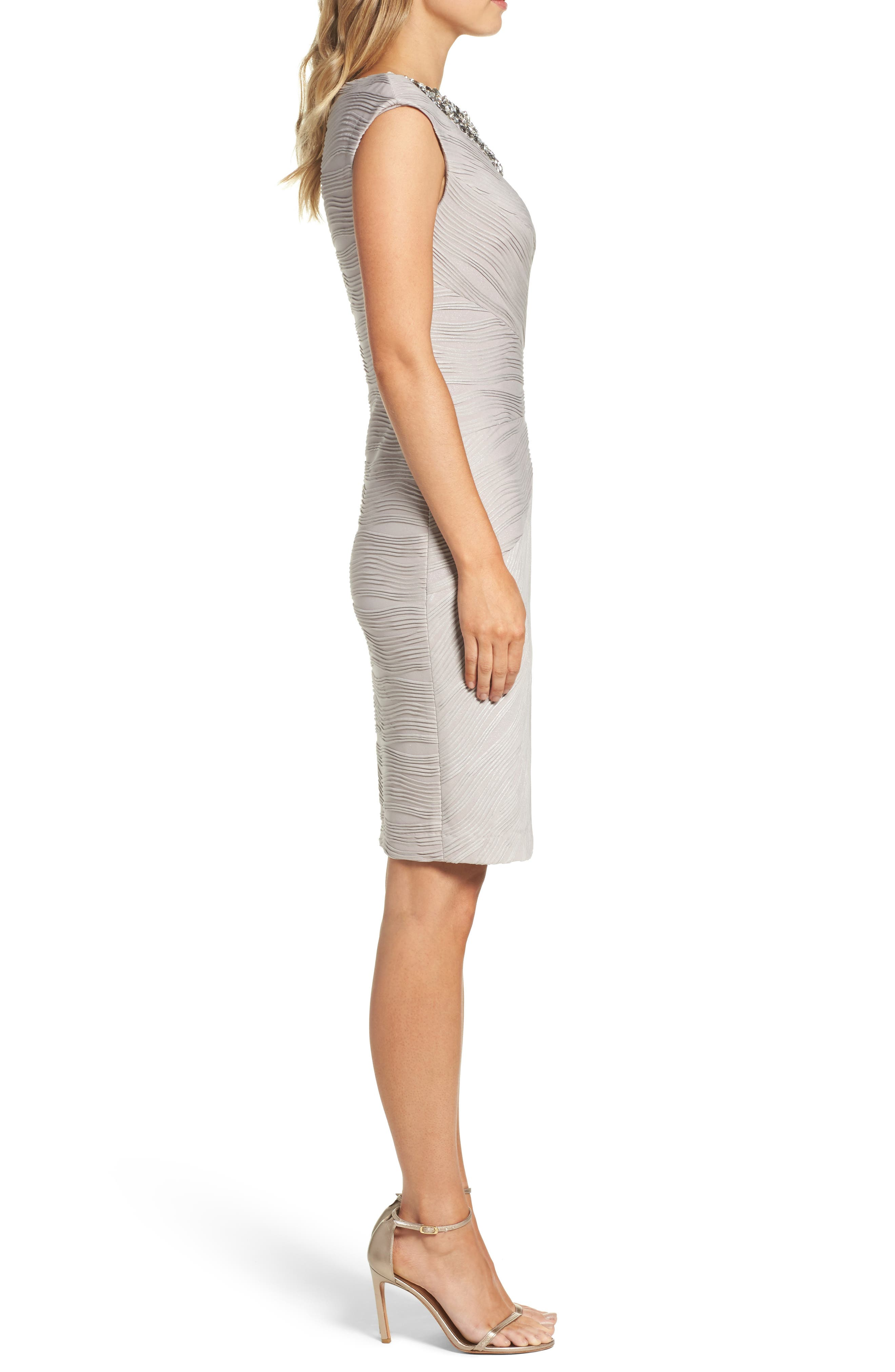 Embellished Neckline Sheath Dress,                             Alternate thumbnail 3, color,                             Taupe