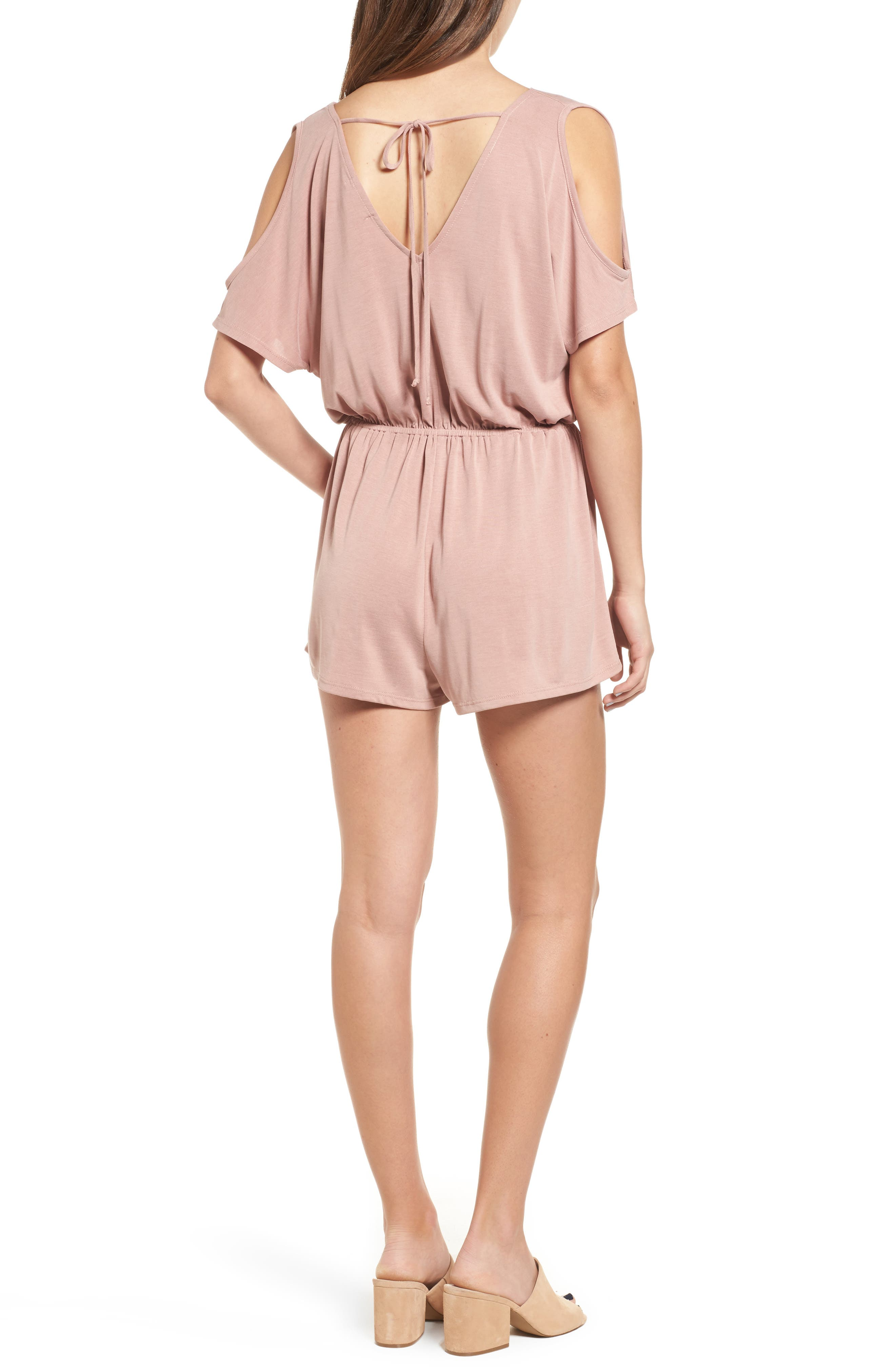 Cold Shoulder Romper,                             Alternate thumbnail 2, color,                             Pink Compact