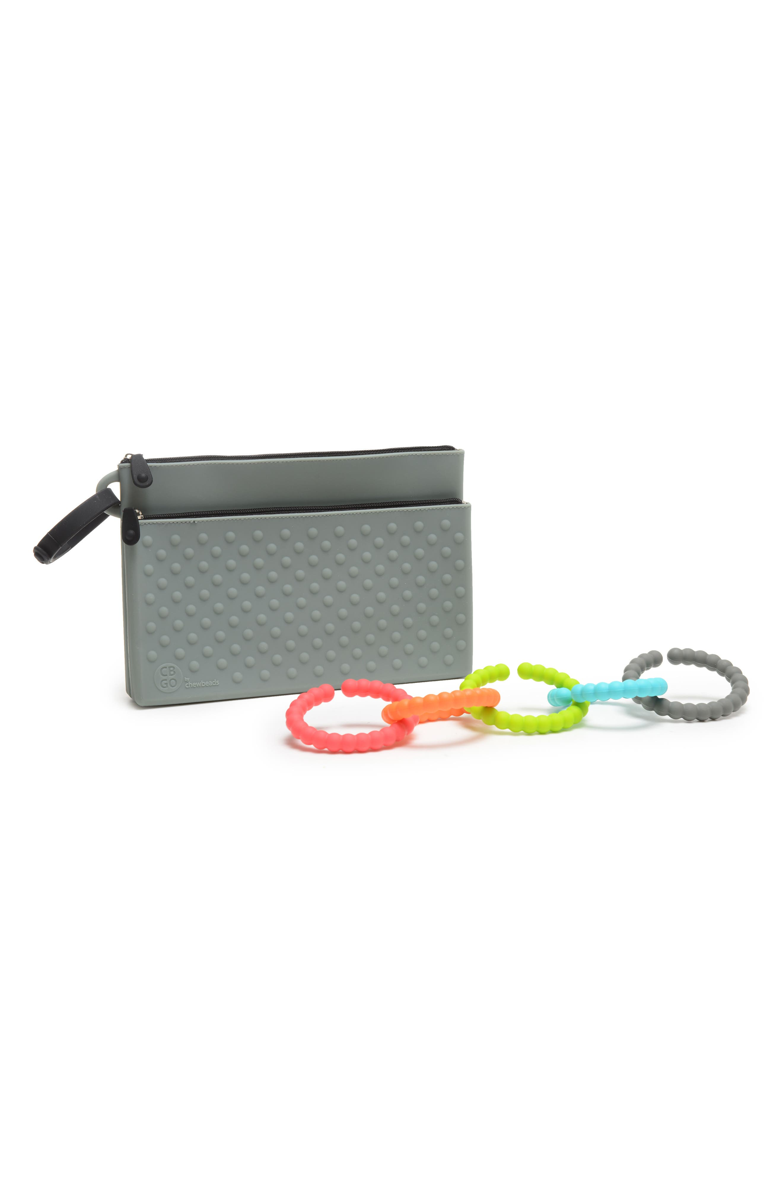 GO Wipes Case & Teething Links Set,                             Main thumbnail 1, color,                             Stormy Grey