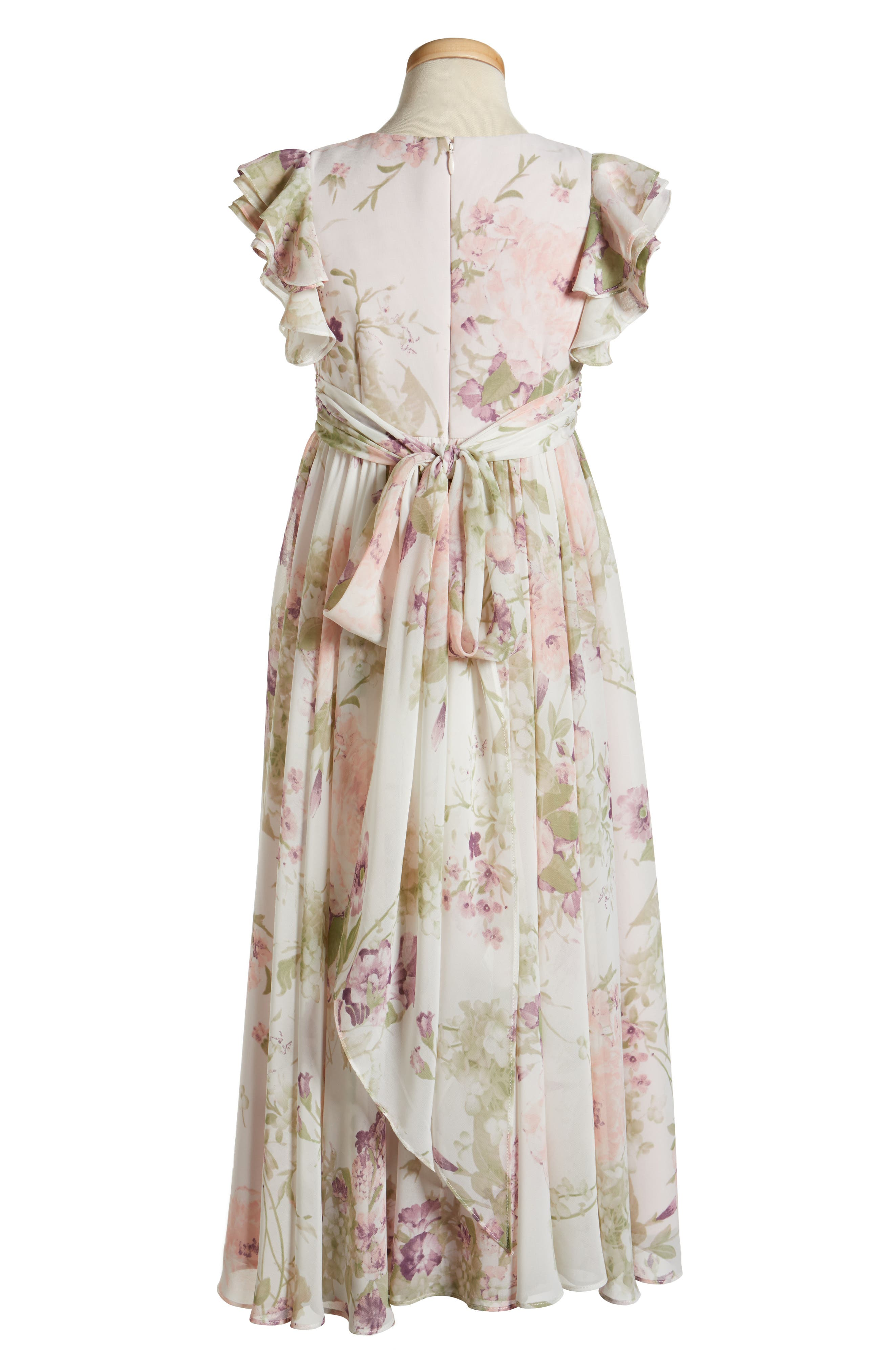 Alternate Image 2  - Dessy Collection Flutter Sleeve Long Chiffon Flower Girl Dress (Toddler Girls, Little Girls & Big Girls)