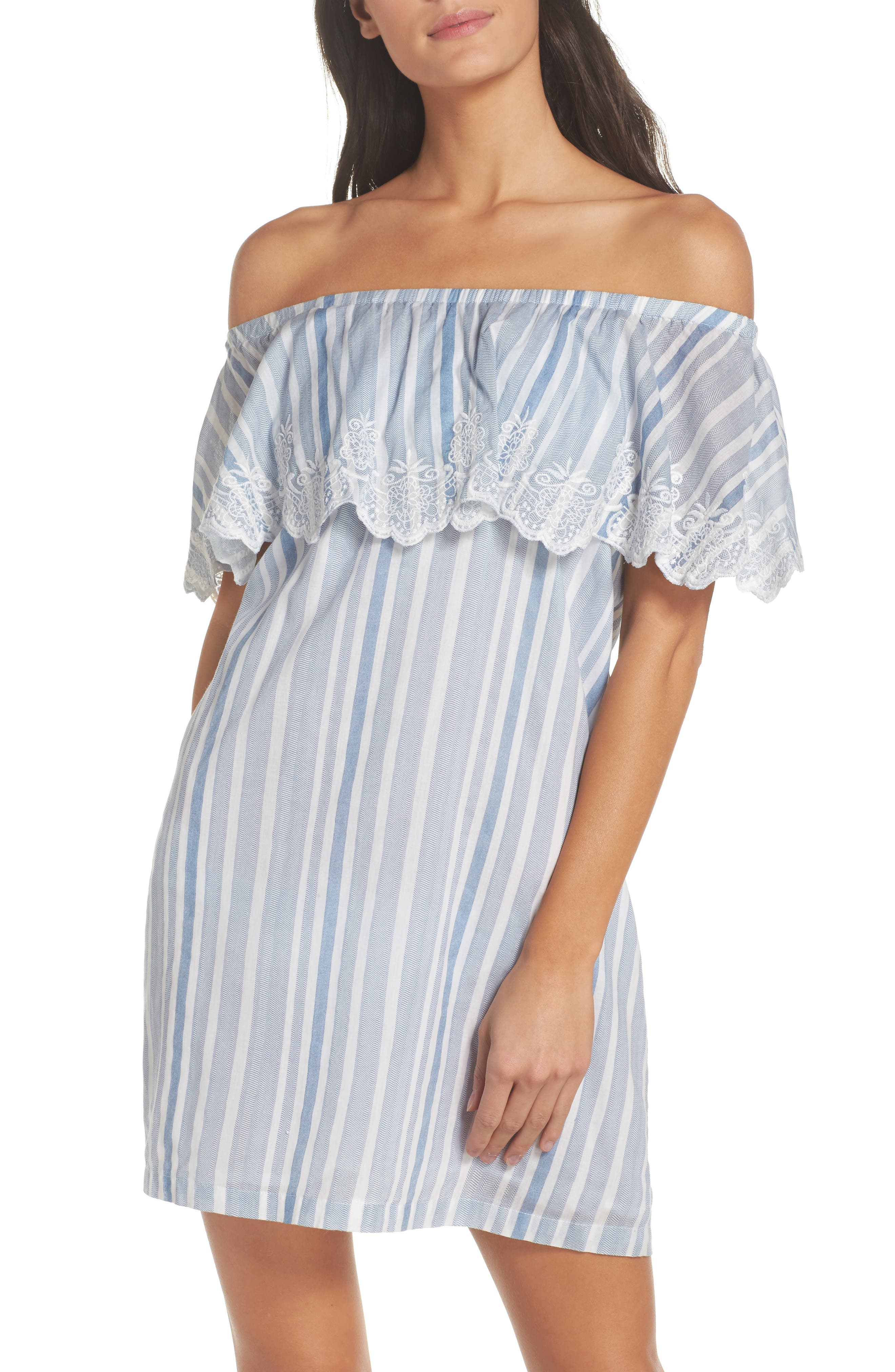Penelope Embroidered Cover-Up Dress,                         Main,                         color, Blue